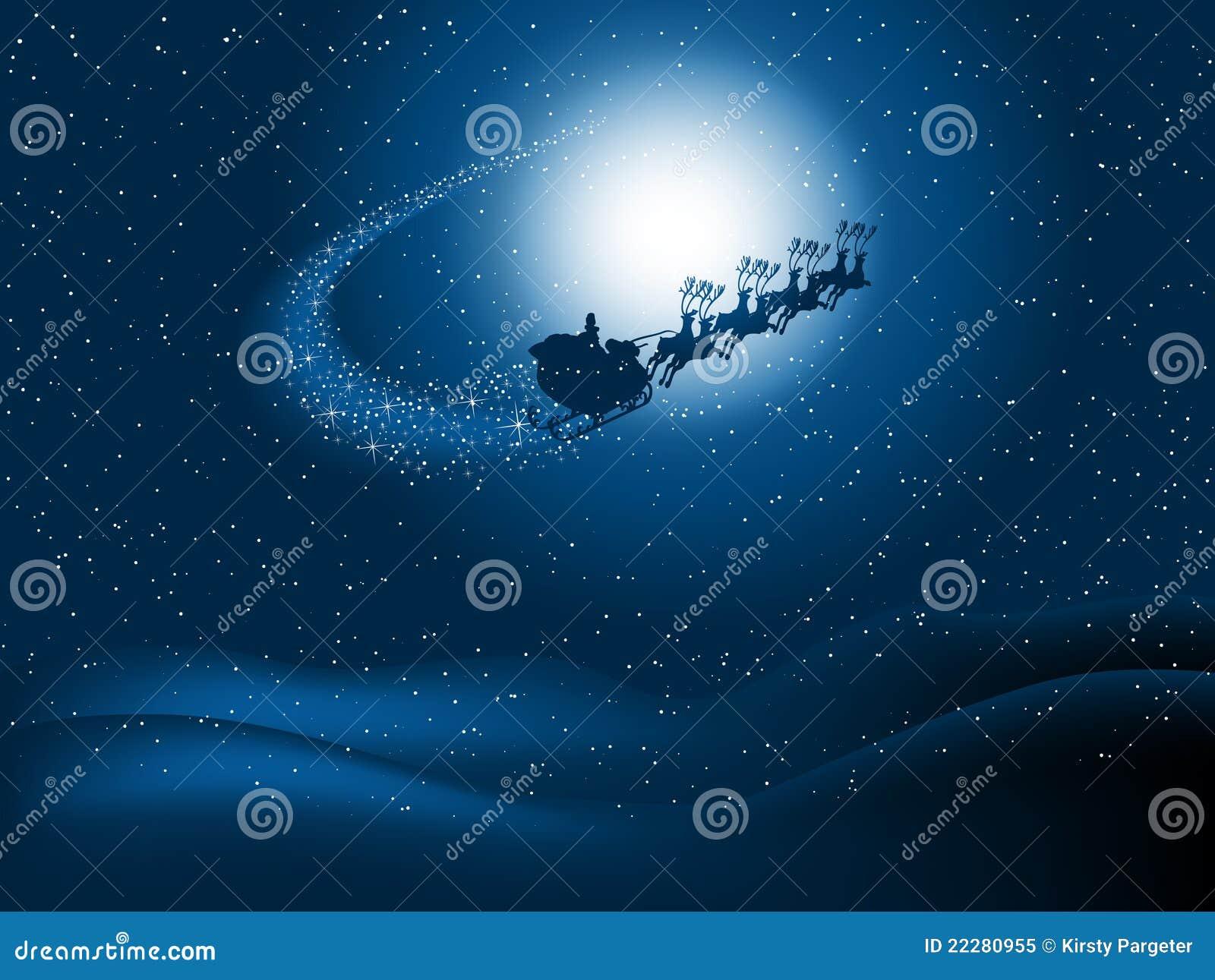 晚上圣诞老人天空