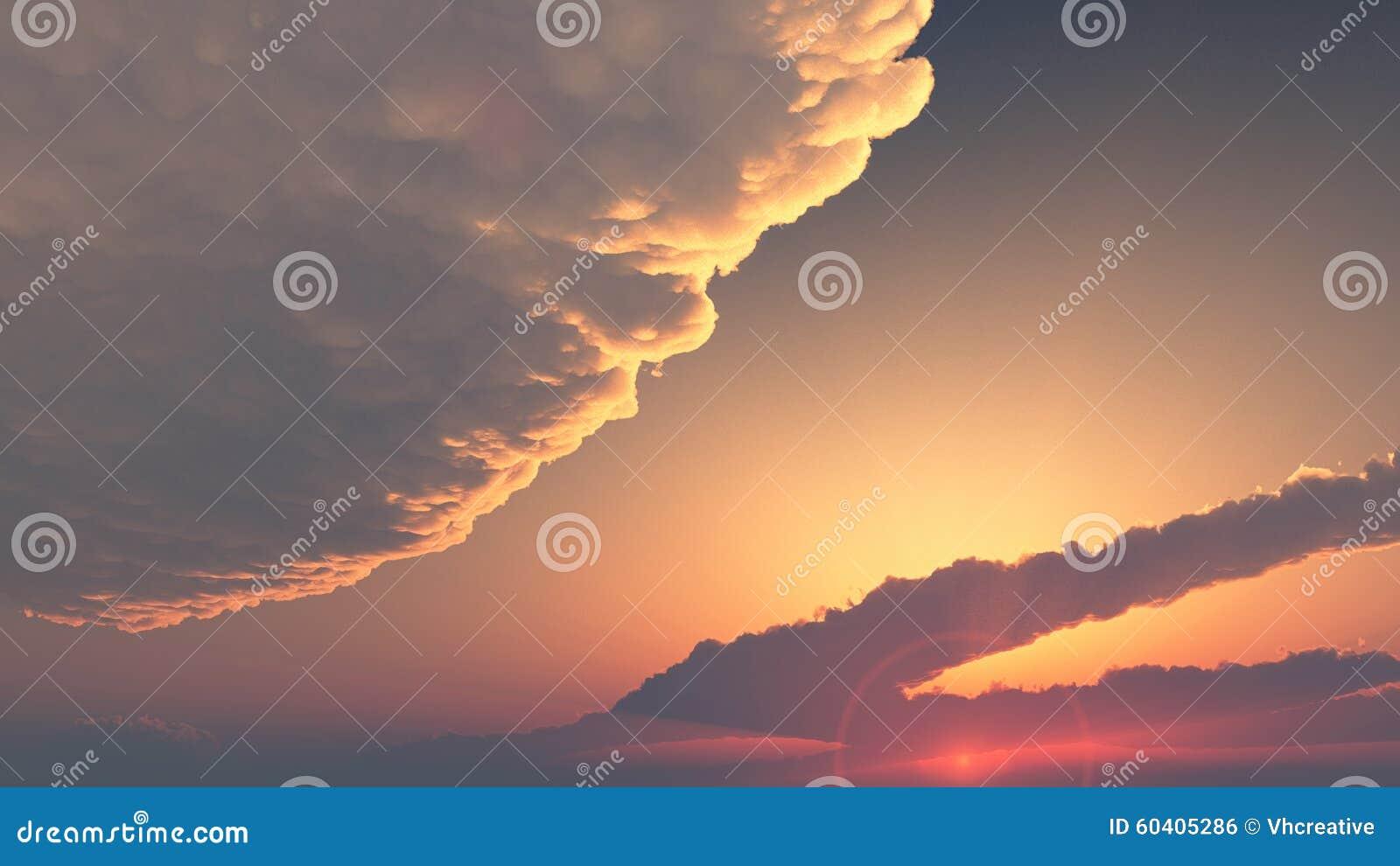 晚上天空-云彩报道的日落