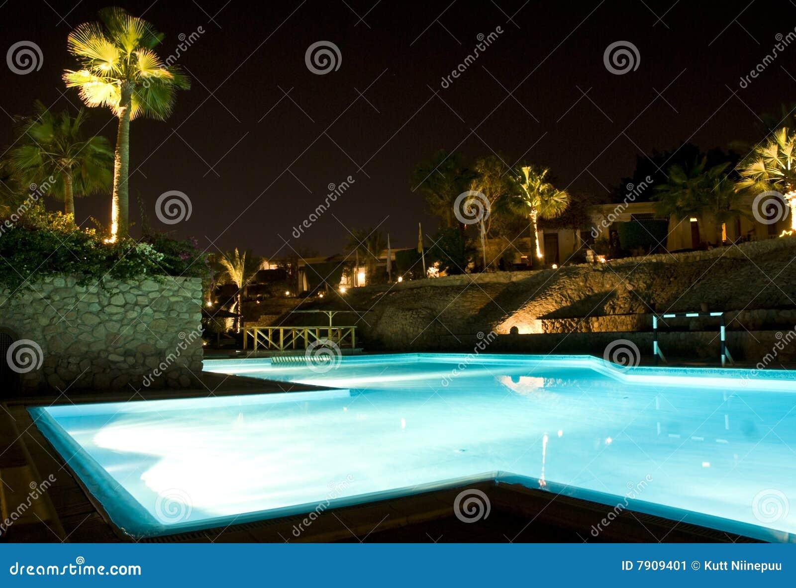 晚上池场面游泳