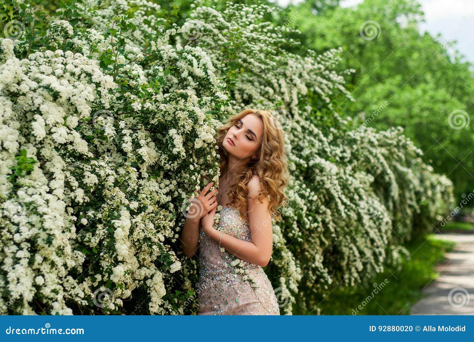 晚上燕尾服的女孩在春天在中部在开花的灌木和树美好微笑中