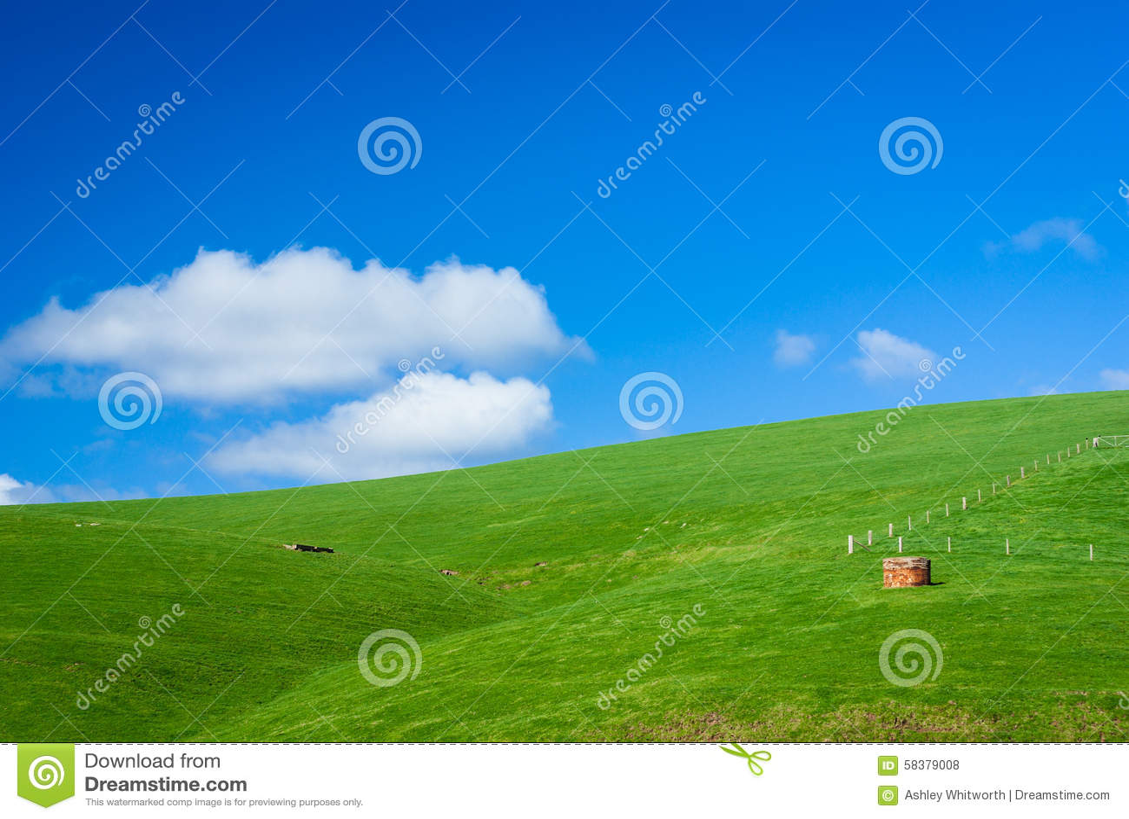 普通绿色多小山农田