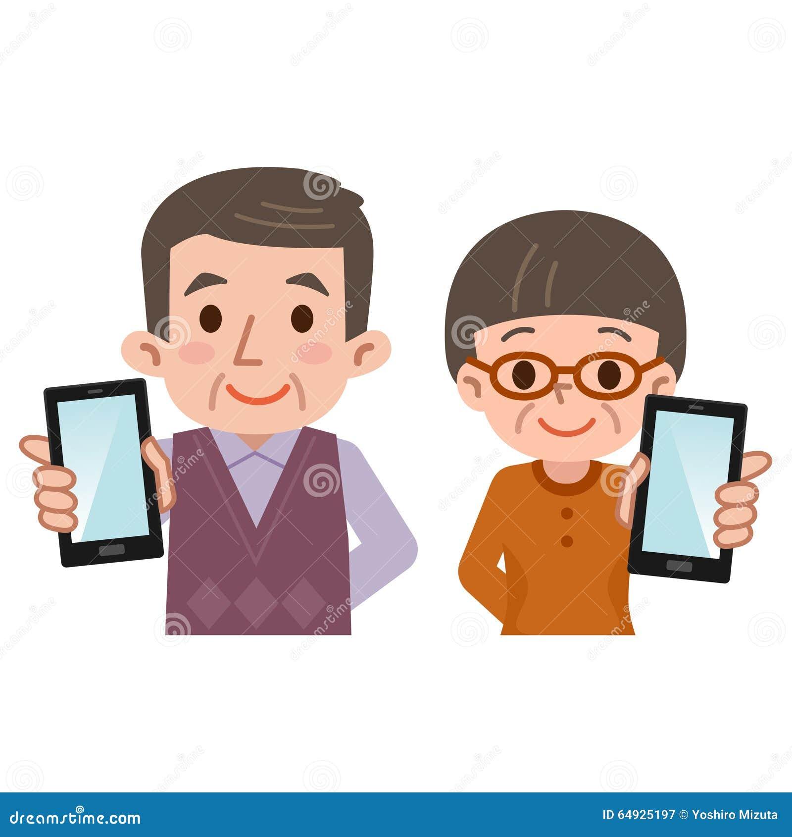 智能手机和老人和妇女图片