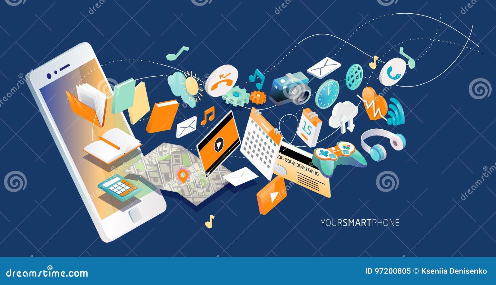 智能手机的等量概念用不同的应用、联机服务和固定式选择的