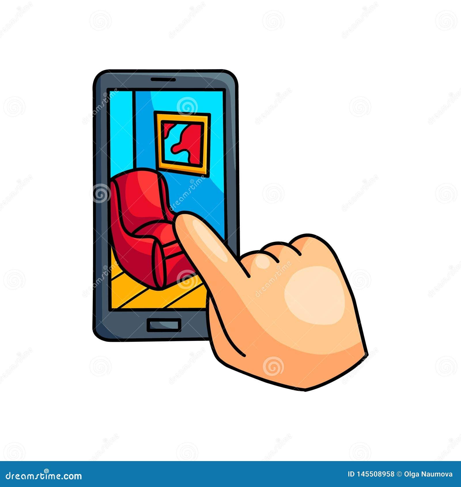 智能手机被增添的真实展示室室内设计