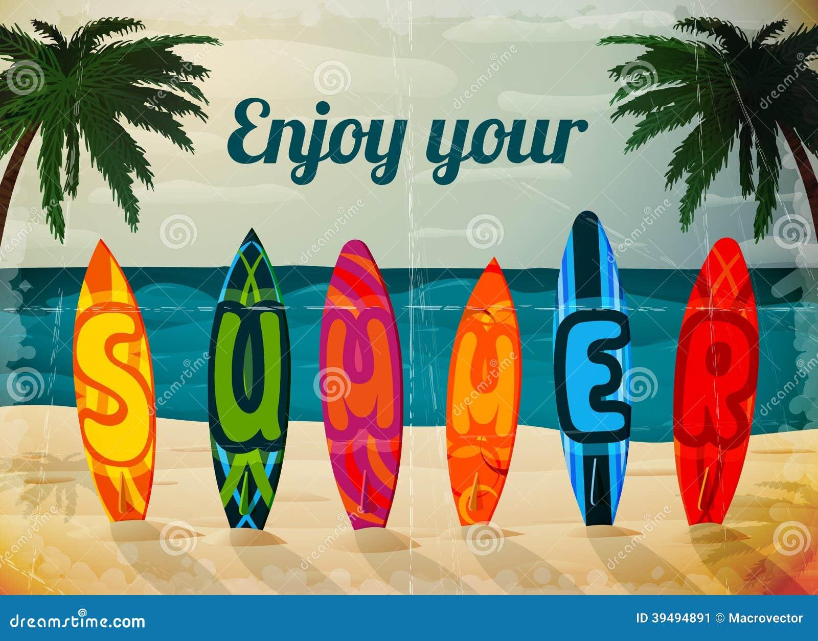 暑假冲浪板海报