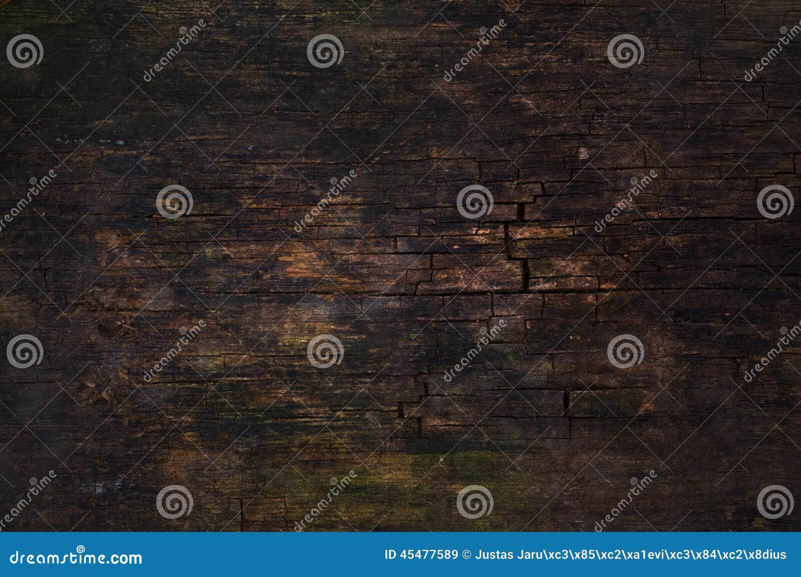 黑暗的破裂的木表面