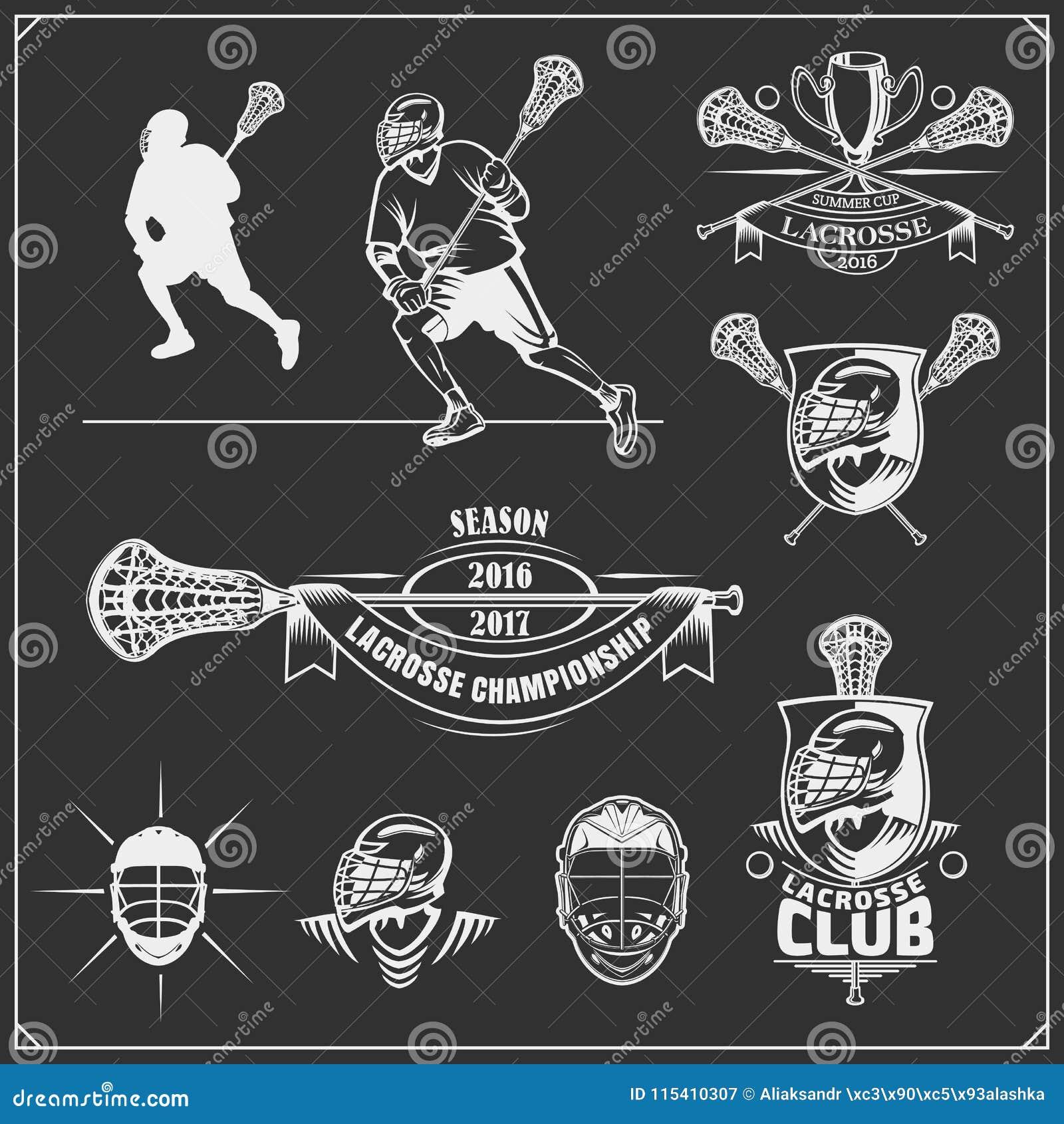 曲棍网兜球俱乐部标签、象征、设计球员的元素和剪影
