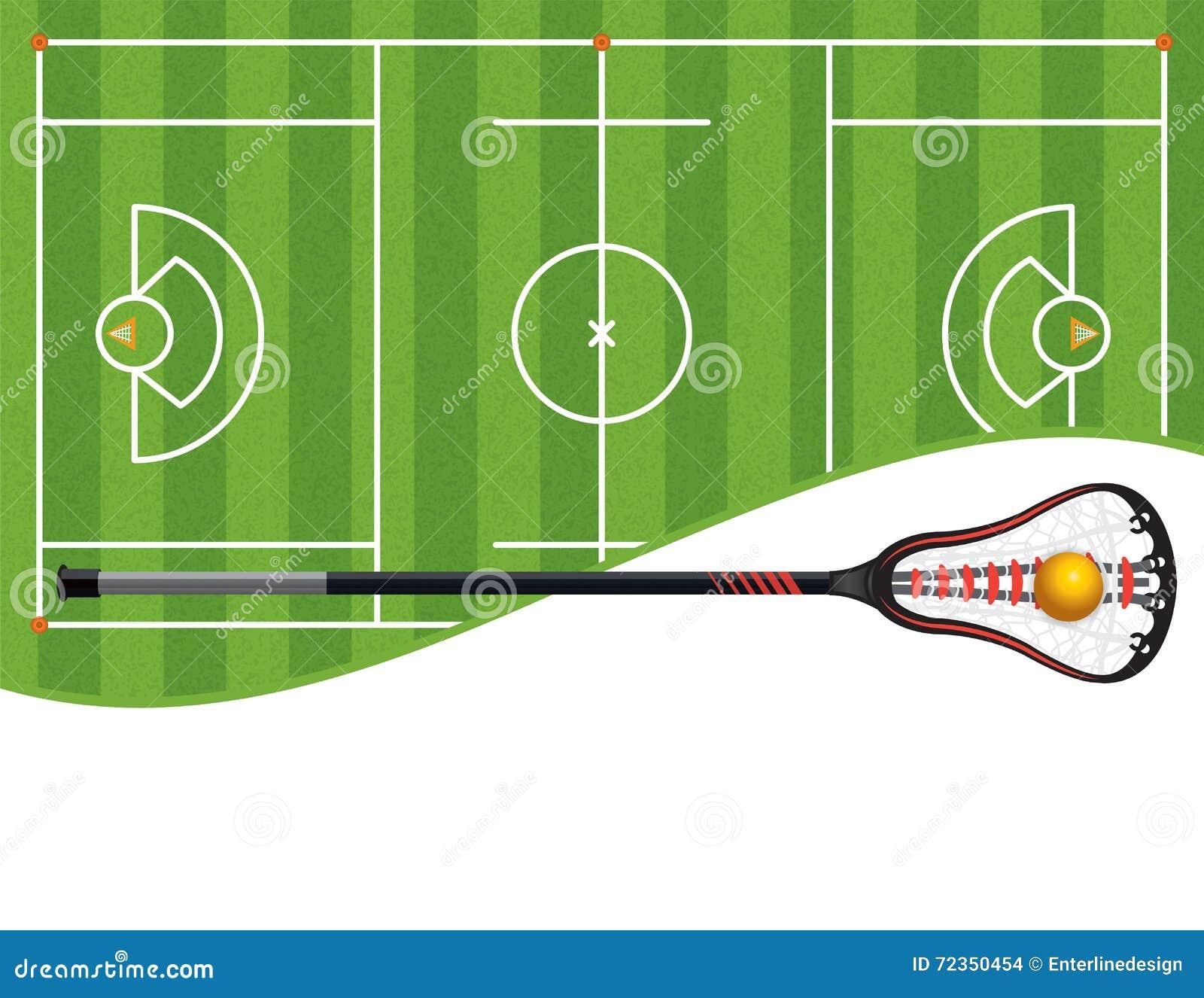 曲棍网兜球领域和棍子例证