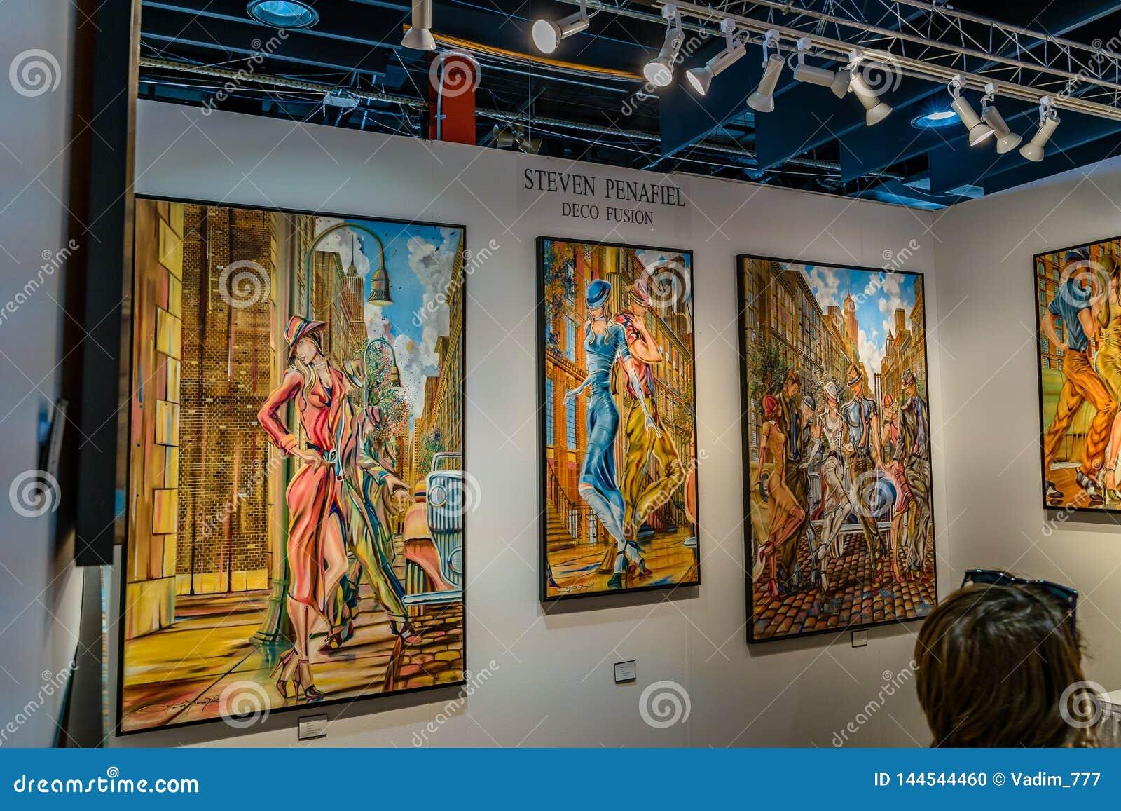 曼哈顿、纽约、NY、美国- 2019年4月7日Artexpo纽约,现代和当代艺术展示,码头90 NYC