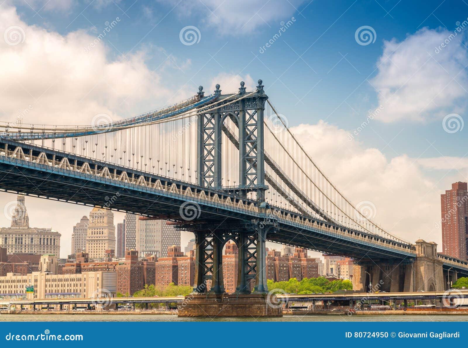 曼哈顿桥梁如被看见从在底下,纽约