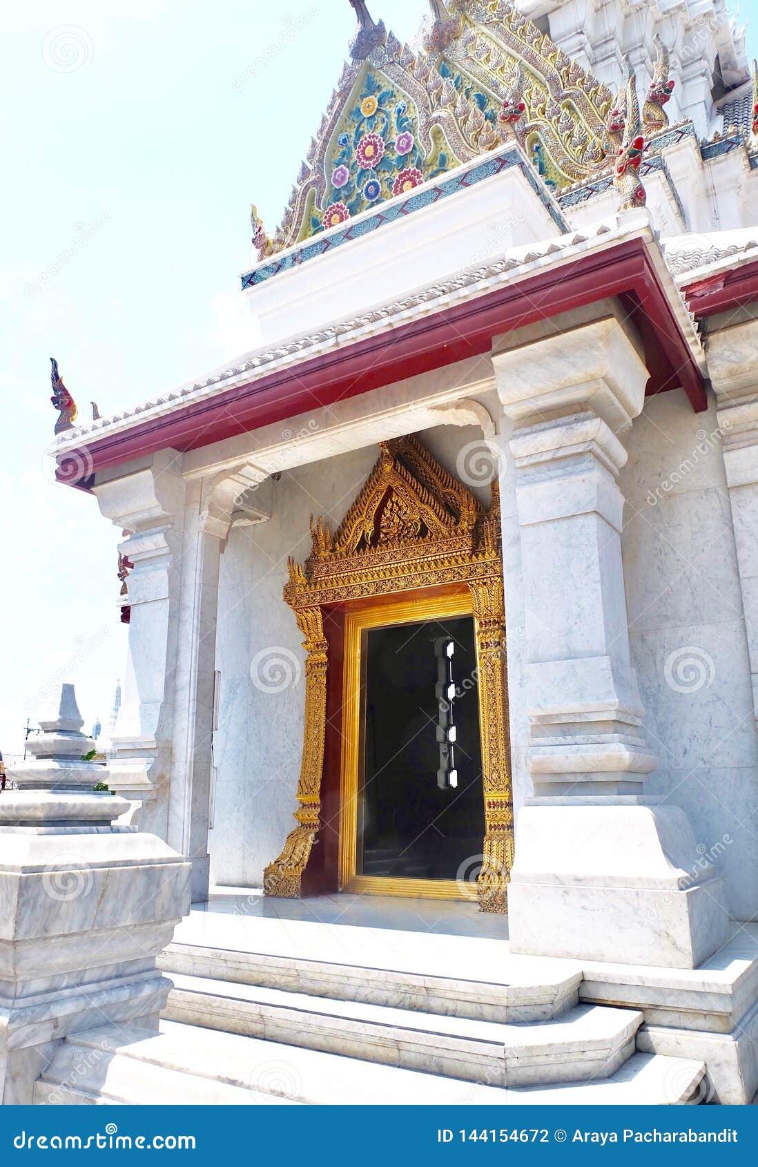 曼谷市柱子寺庙在曼谷,泰国
