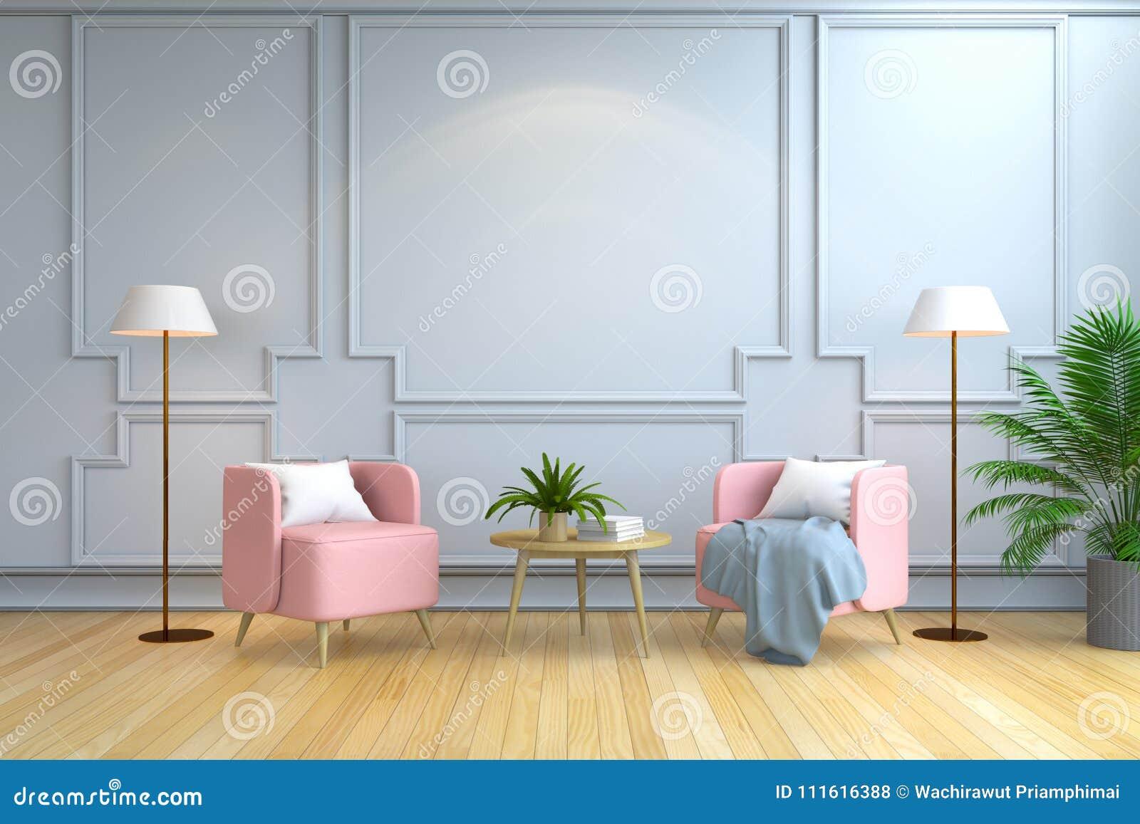 最低纲领派室室内设计、当代家具、桃红色扶手椅子和白色灯在木地板和白色墙壁/3d回报