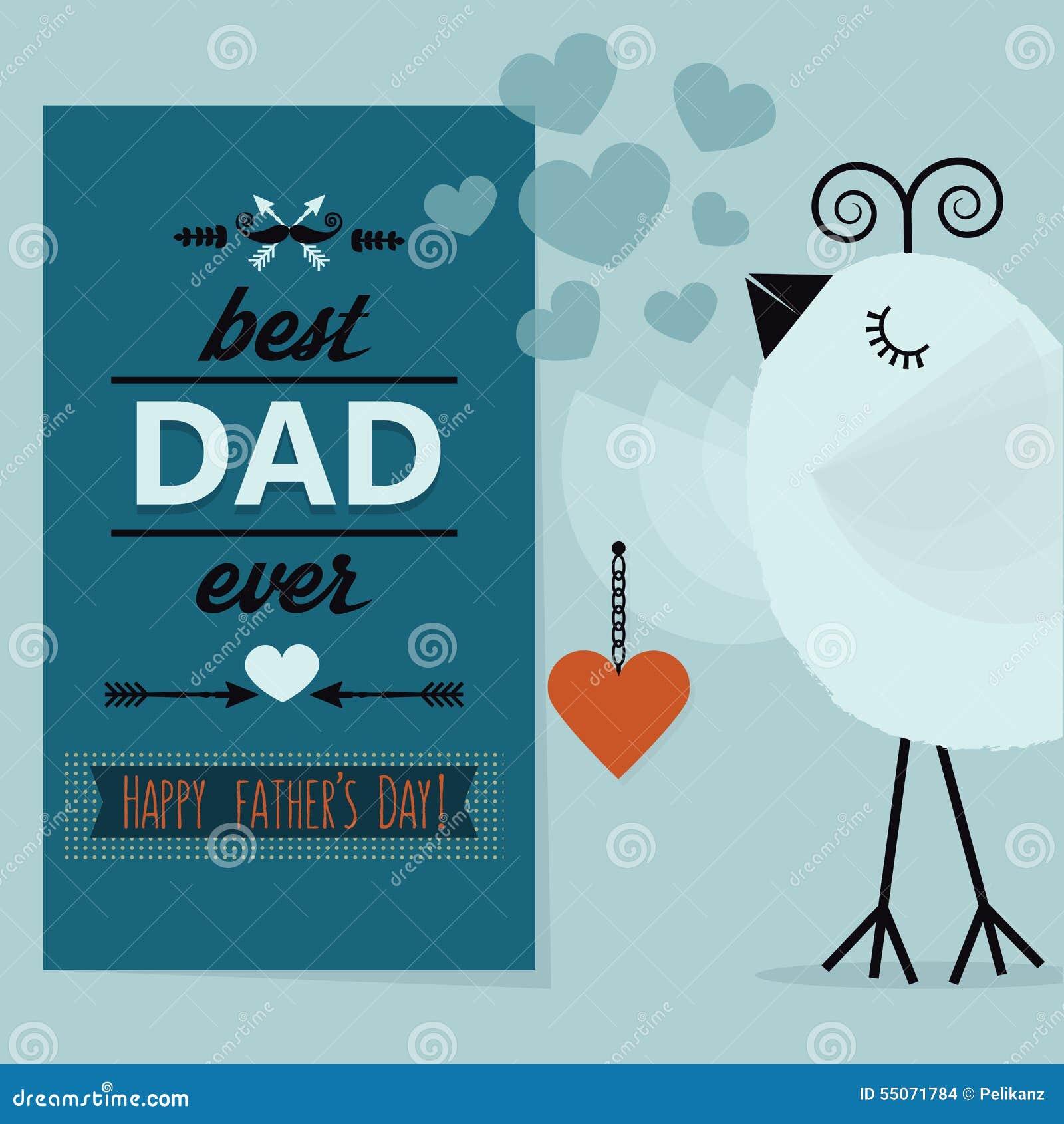 最佳的爸爸和愉快的父亲节蓝色卡片