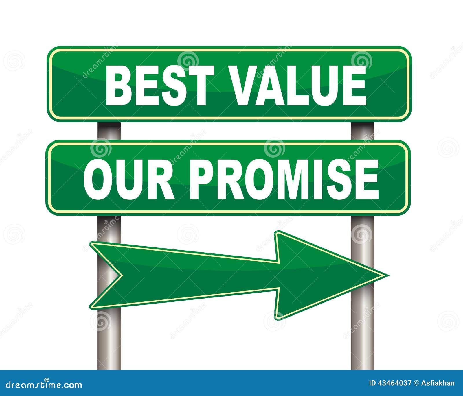 最佳的价值我们的诺言绿色路标