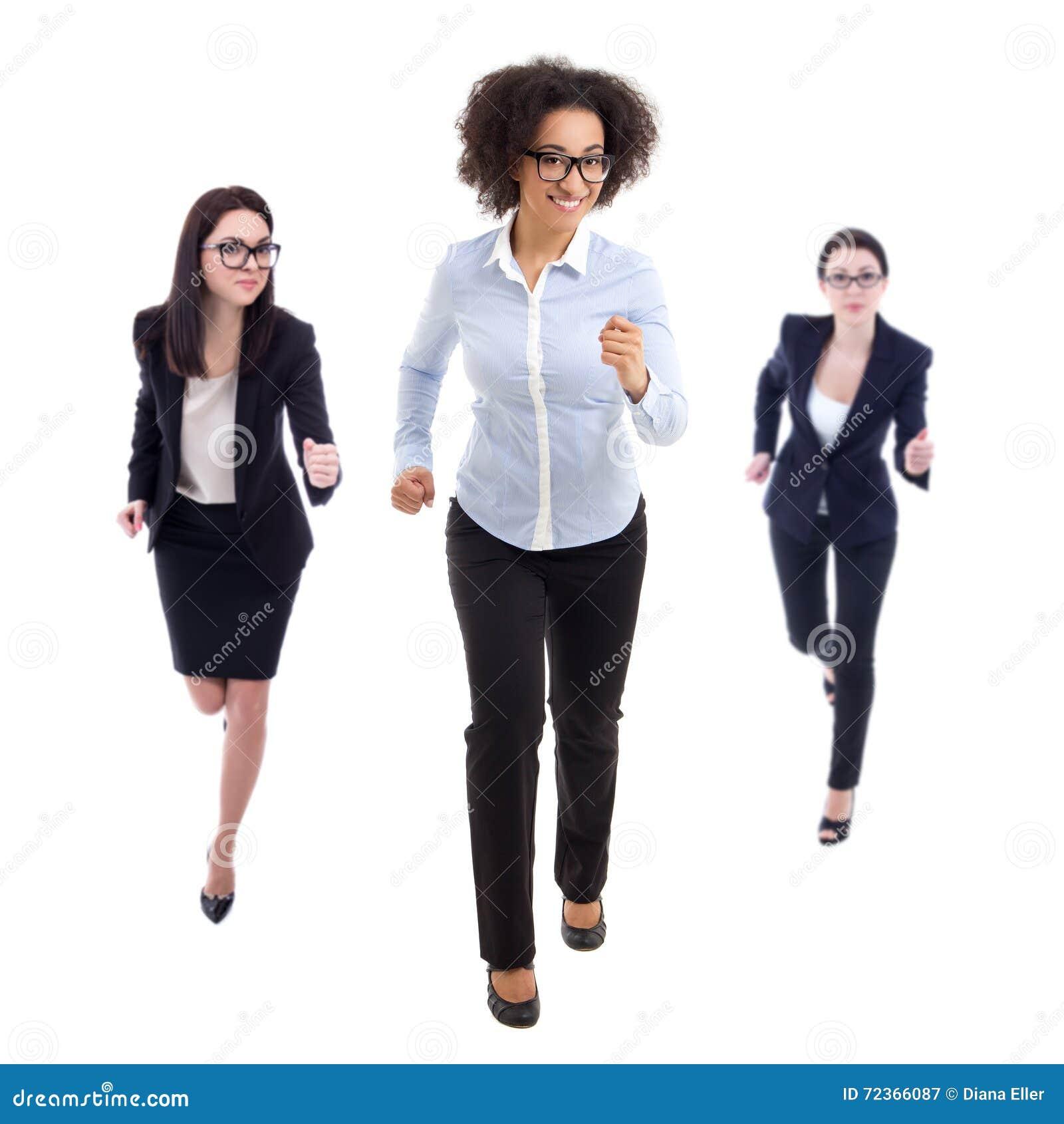 最后期限概念-连续女商人正面图被隔绝