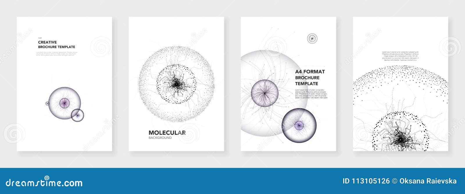 最小的小册子模板 在白色背景的分子模型 技术科学幻想小说或医疗概念,抽象传染媒介设计
