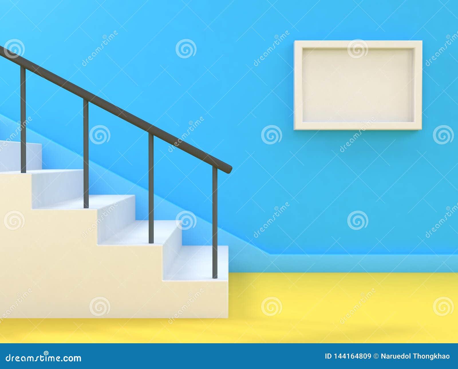 最小的抽象背景楼梯楼梯空白白色框架3d回报蓝色墙壁