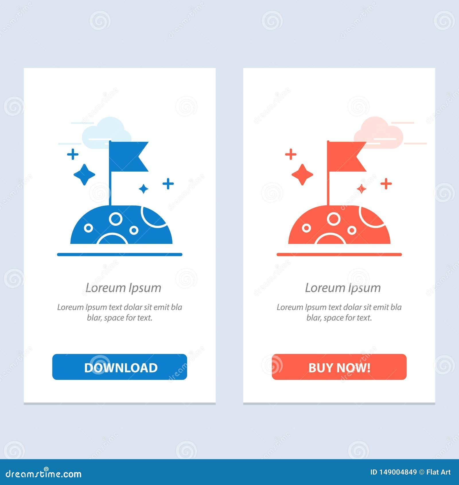月亮、慢,空间蓝色和红色下载和现在买网装饰物卡片模板
