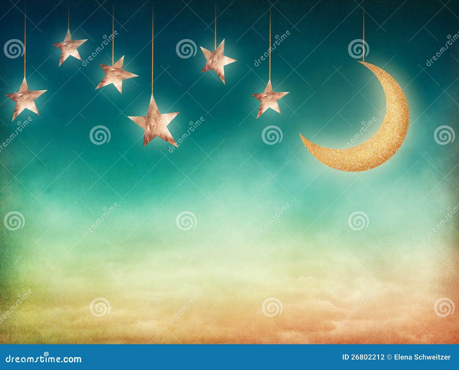 月亮和星形