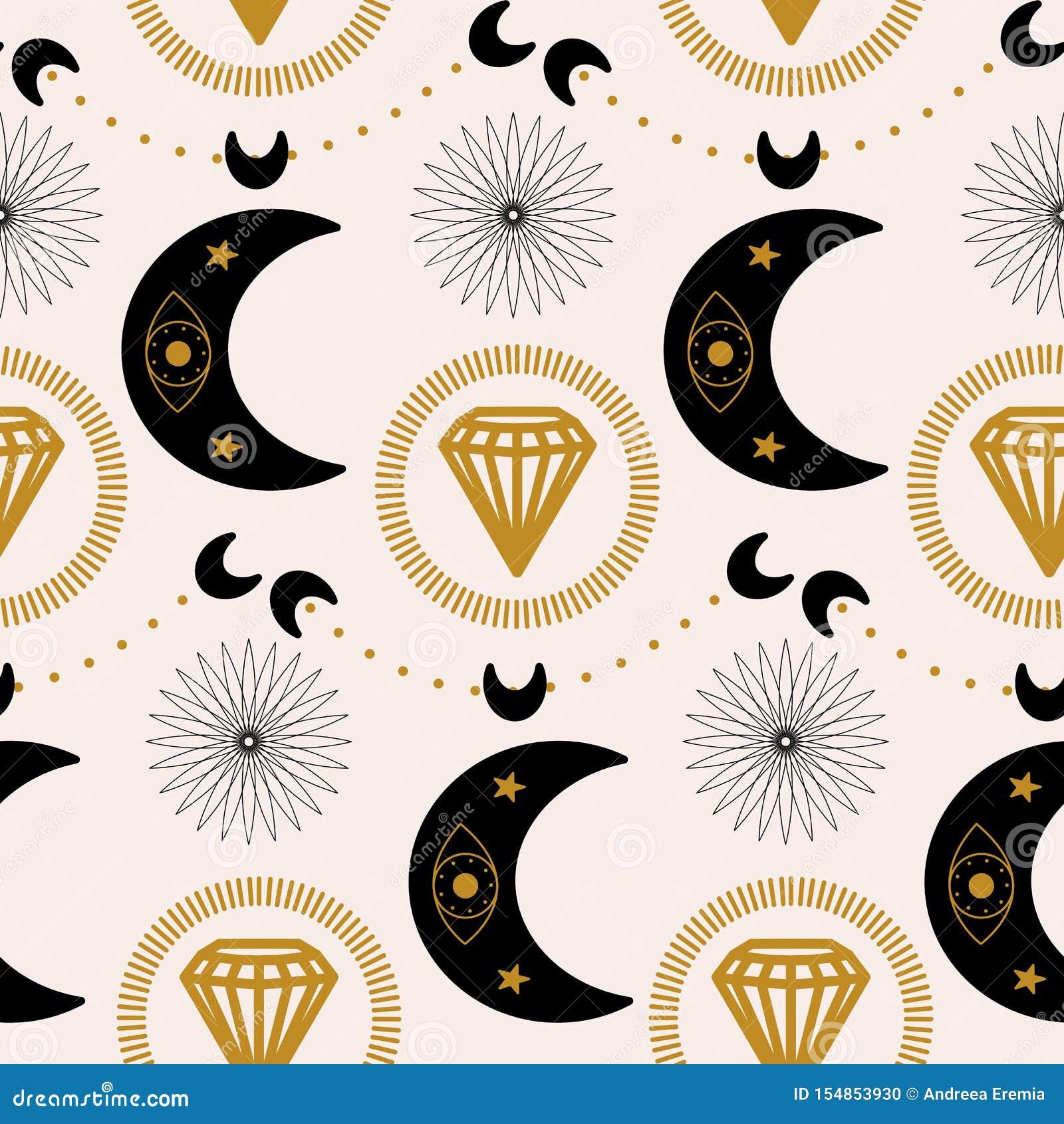 月亮和金刚石在一个几何样式设计