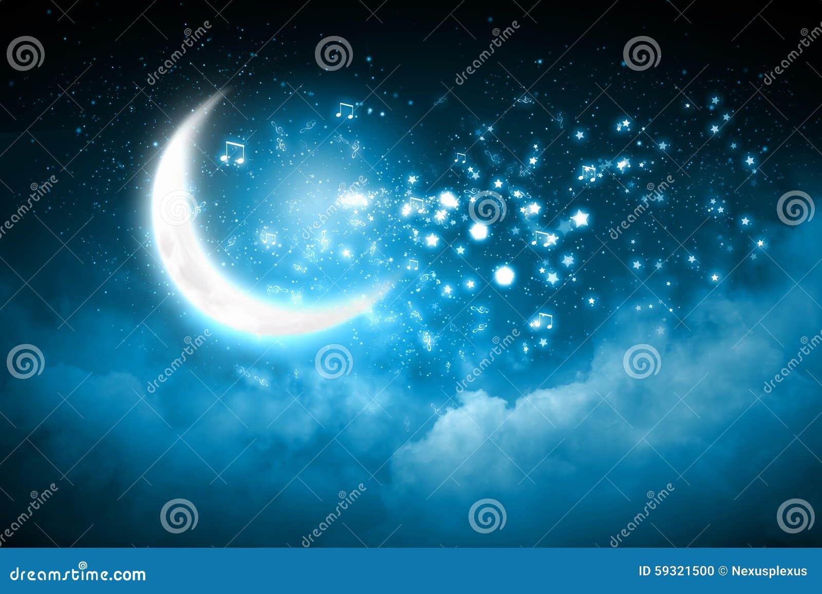 关于发光的背景的光亮的音符与月亮.