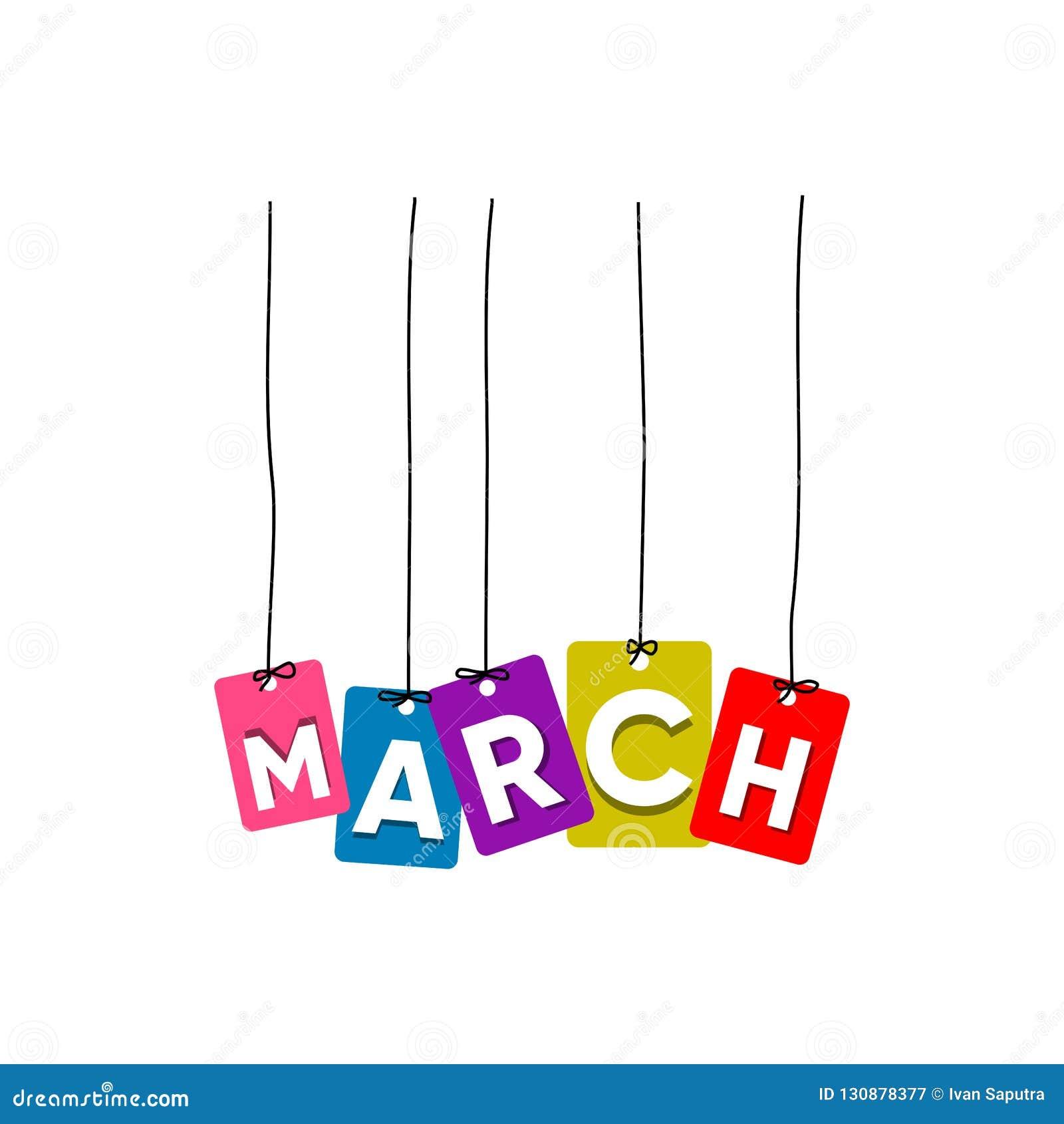 3月垂悬的词传染媒介,五颜六色的词传染媒介,几个月传染媒介的名字