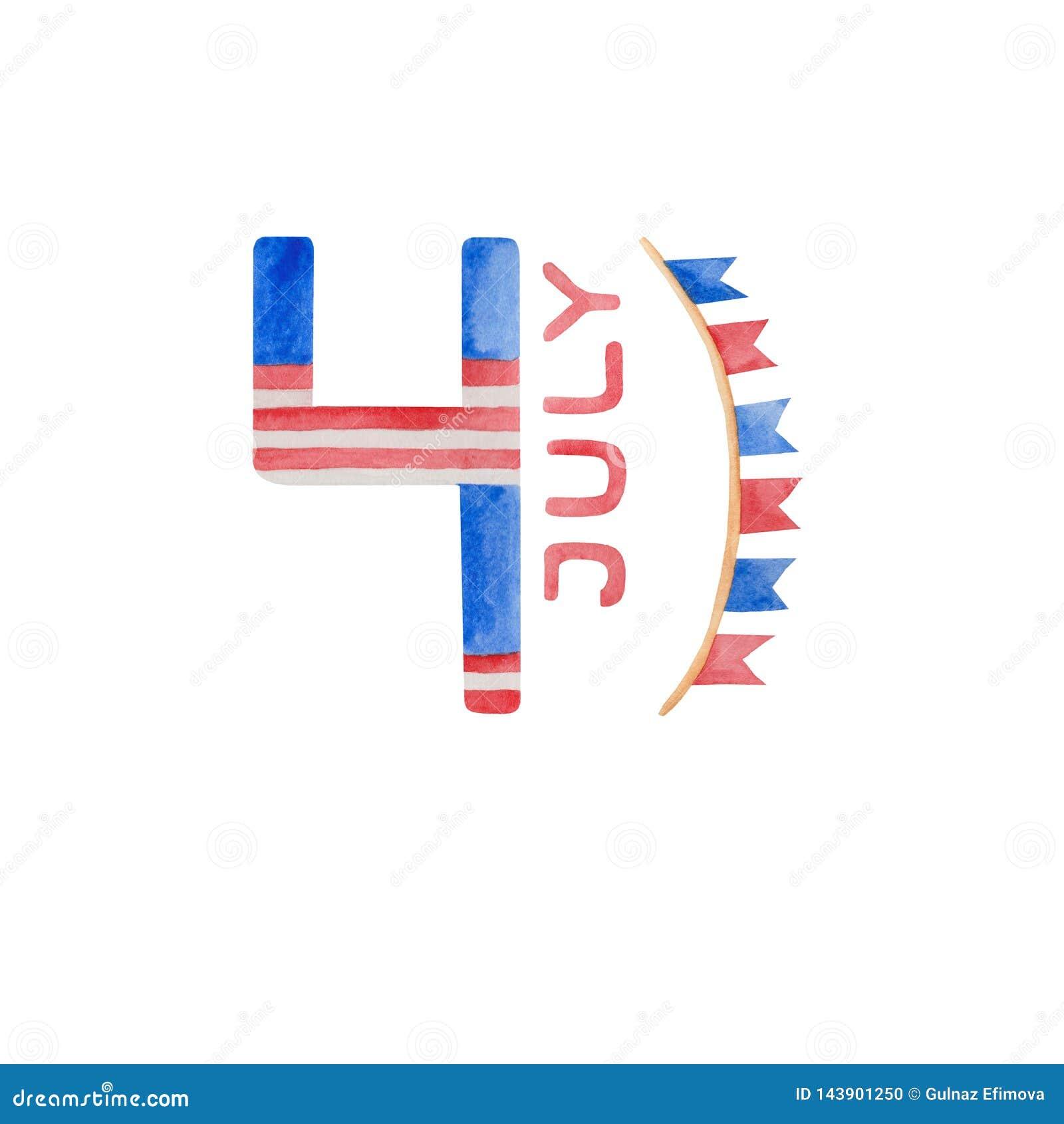7月独立日的水彩例证第4在美国