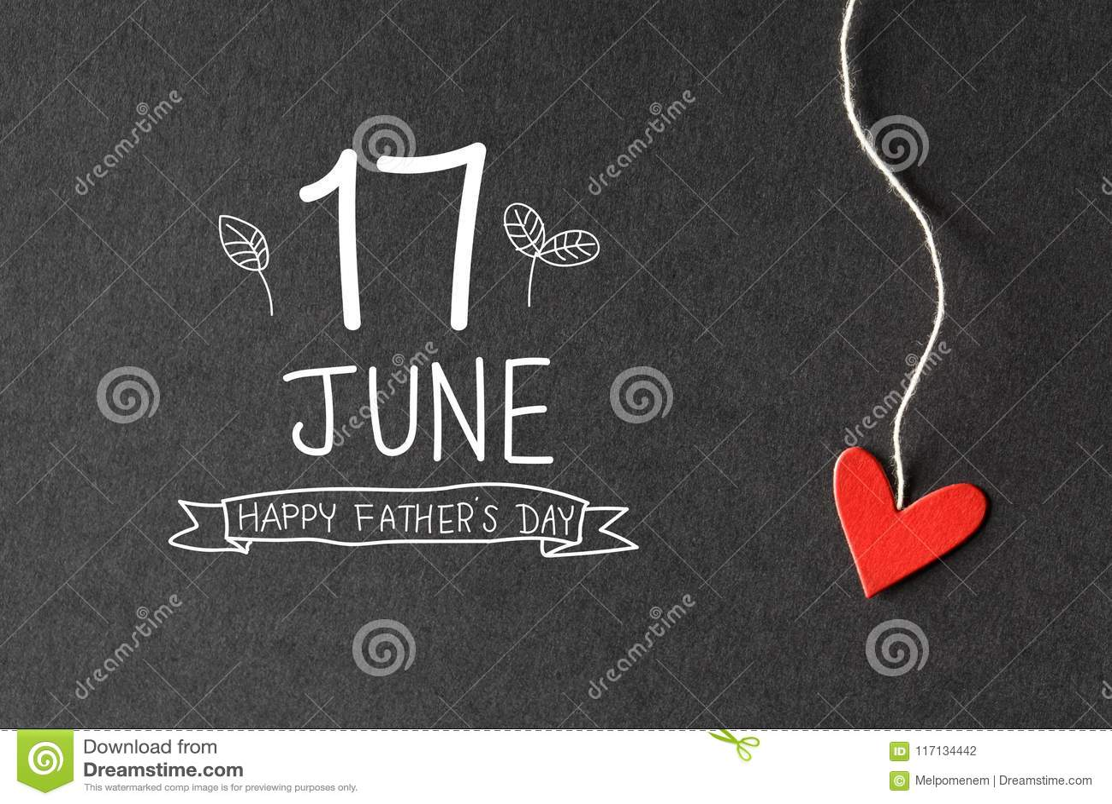 6月17日与纸心脏的愉快的父亲节消息