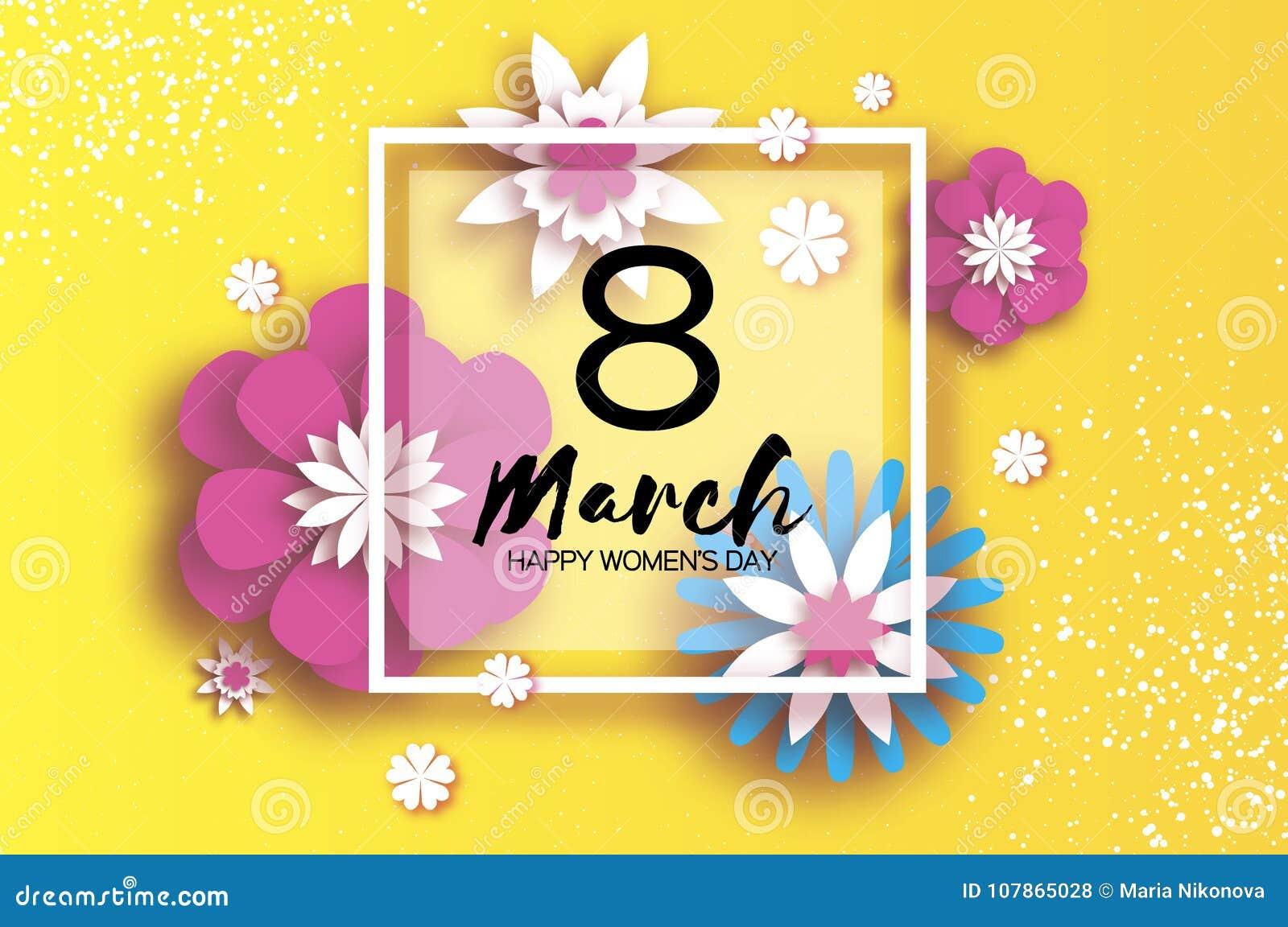 3月8日 愉快的妇女` s母亲` s天 蓝色卡片设计花卉问候 纸刻花 Origami花 方形框架 文本 八