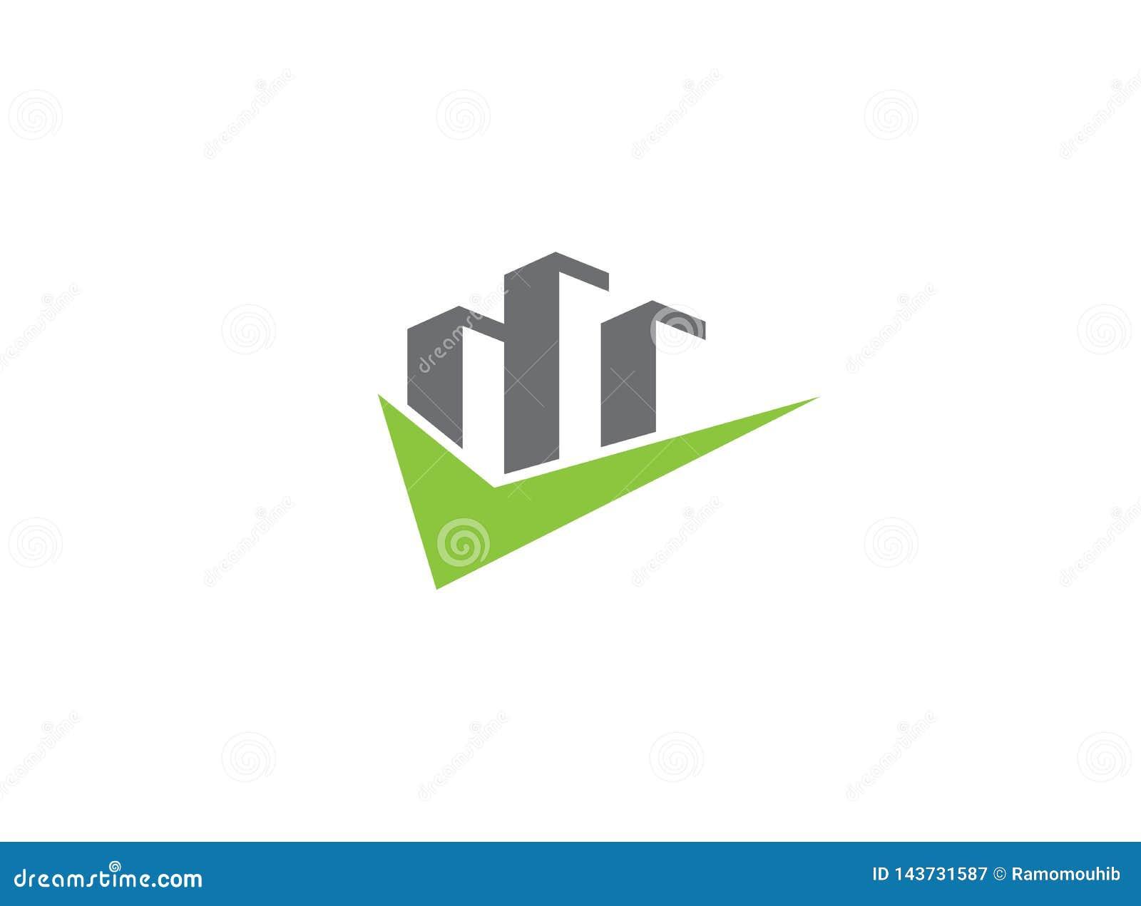 有一个校验标志的大摩天大楼商标设计例证的