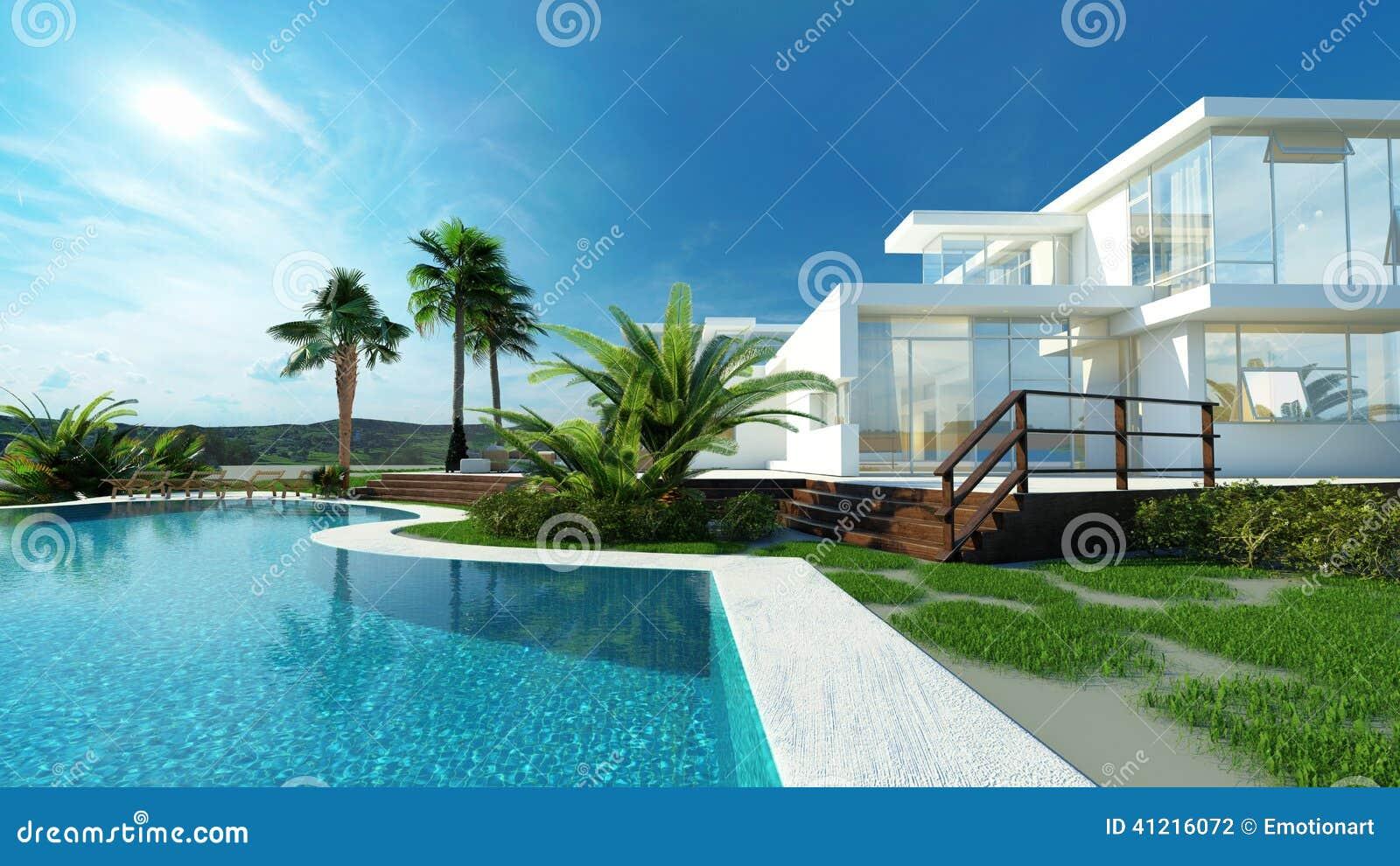 有一个热带庭院和水池的豪华房子