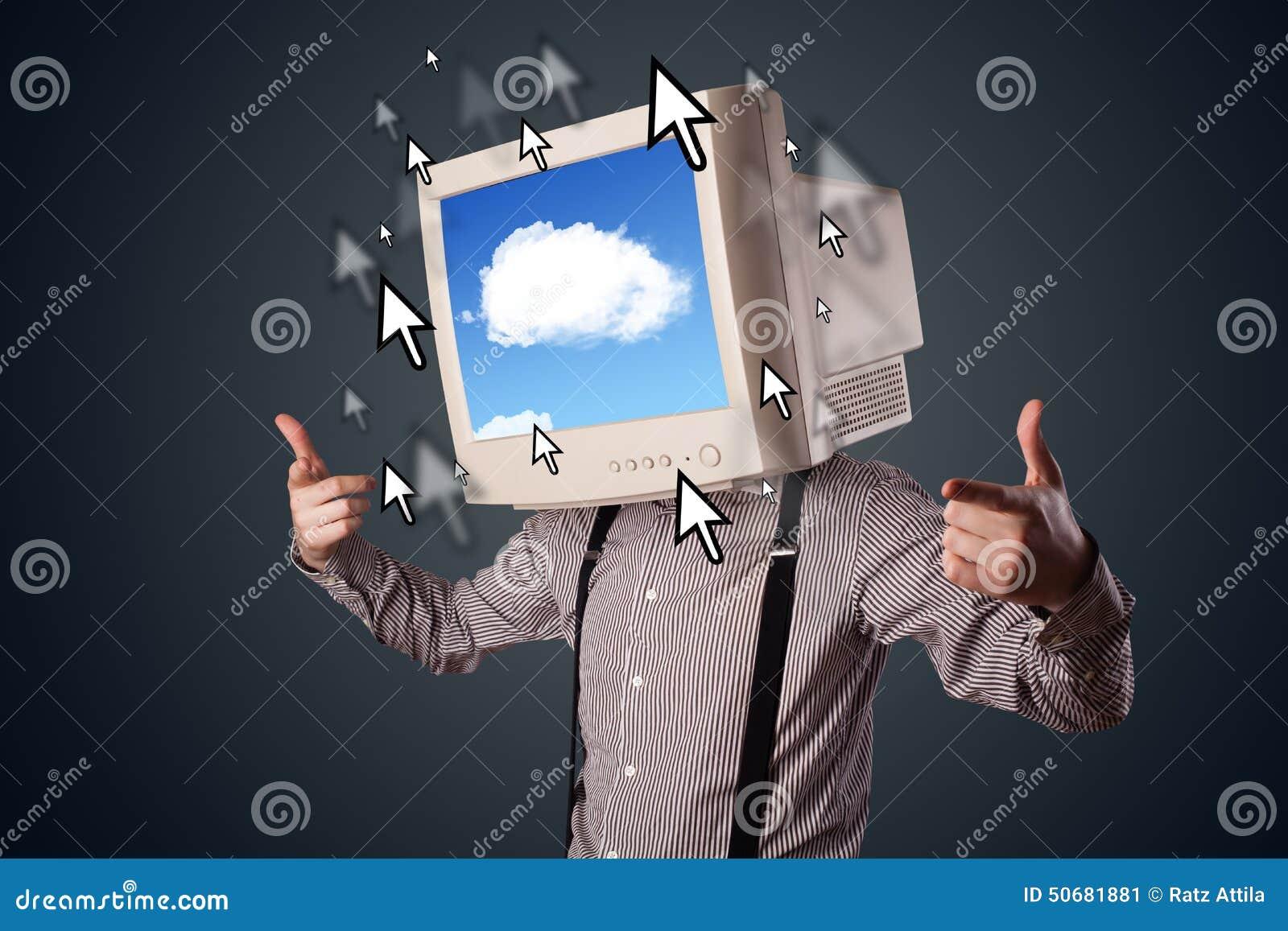 Download 有一台显示器的商人在他的头、云彩系统和pointe 库存例证. 插画 包括有 连接, 网络连接, 例证, 创新 - 50681881