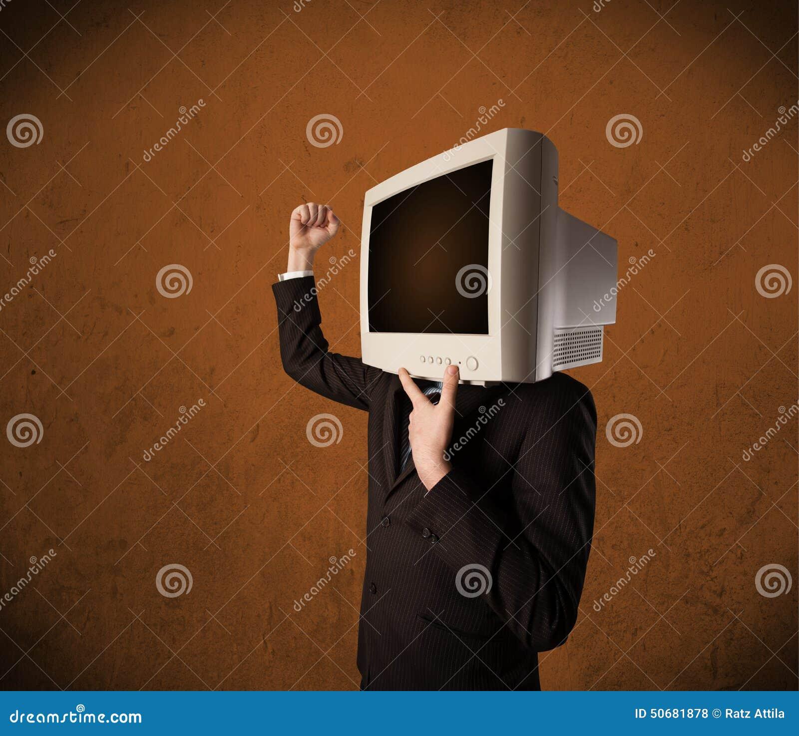 Download 有一台显示器的商人在他的头和棕色空的空间 库存照片. 图片 包括有 买卖人, 白种人, 执行委员, 企业家 - 50681878
