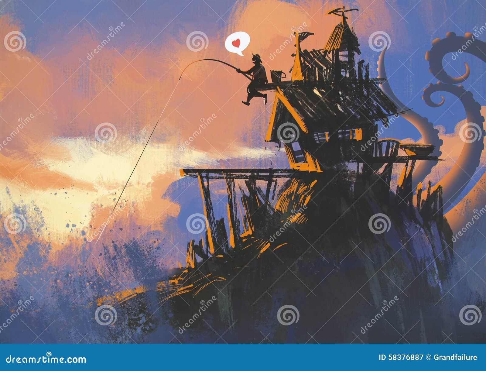 有一根钓鱼竿的渔夫有大抓住