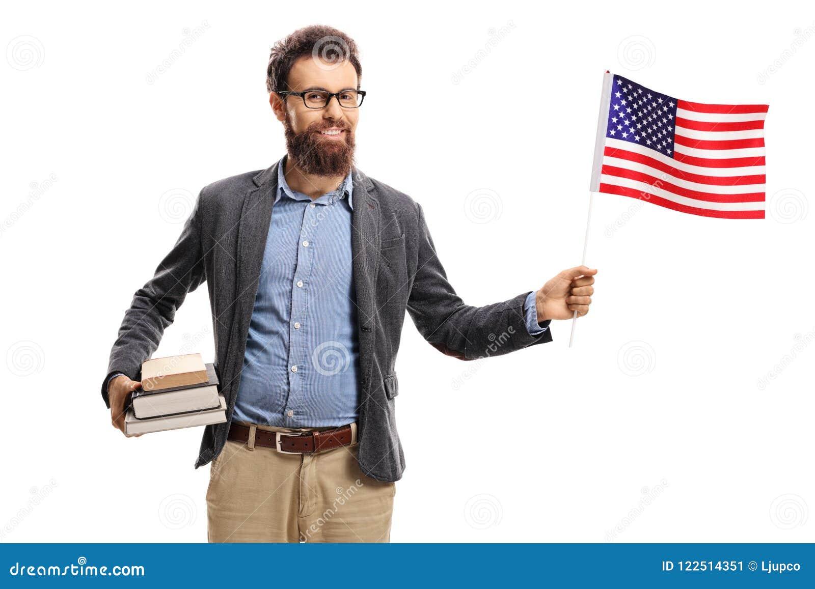 有一面美国国旗的教授