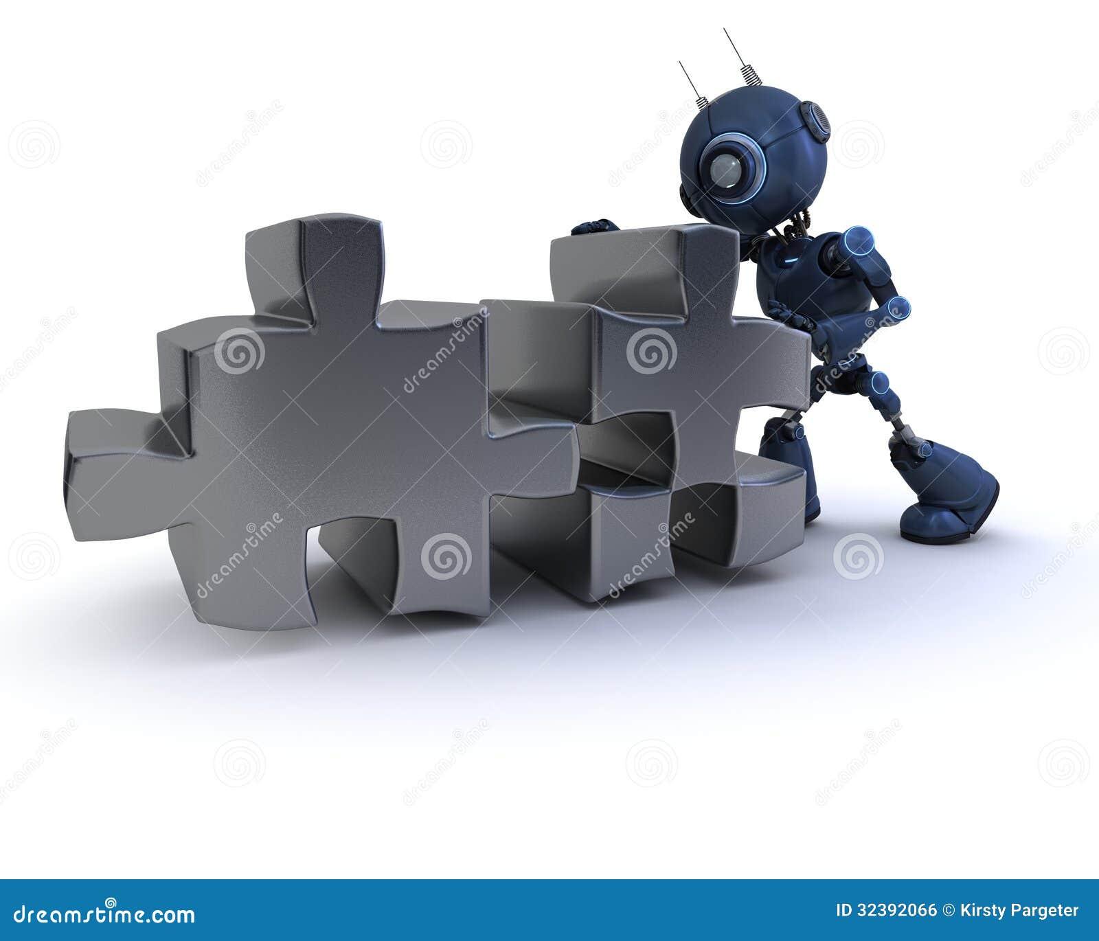 有七巧板的机器人