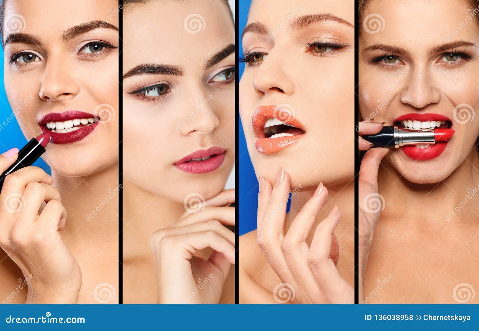 有不同颜色唇膏的,特写镜头肉欲的妇女