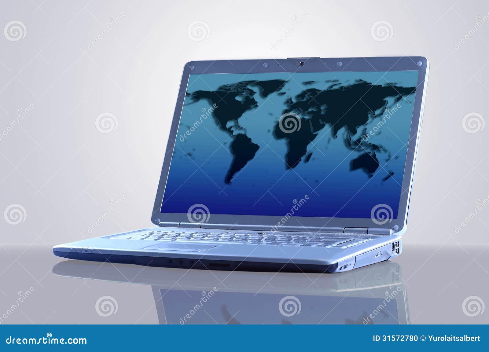 有世界的地图的膝上型计算机