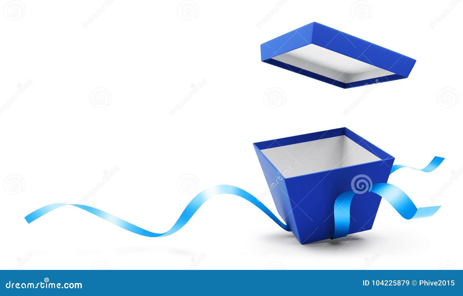 有丝带的蓝色开放礼物盒