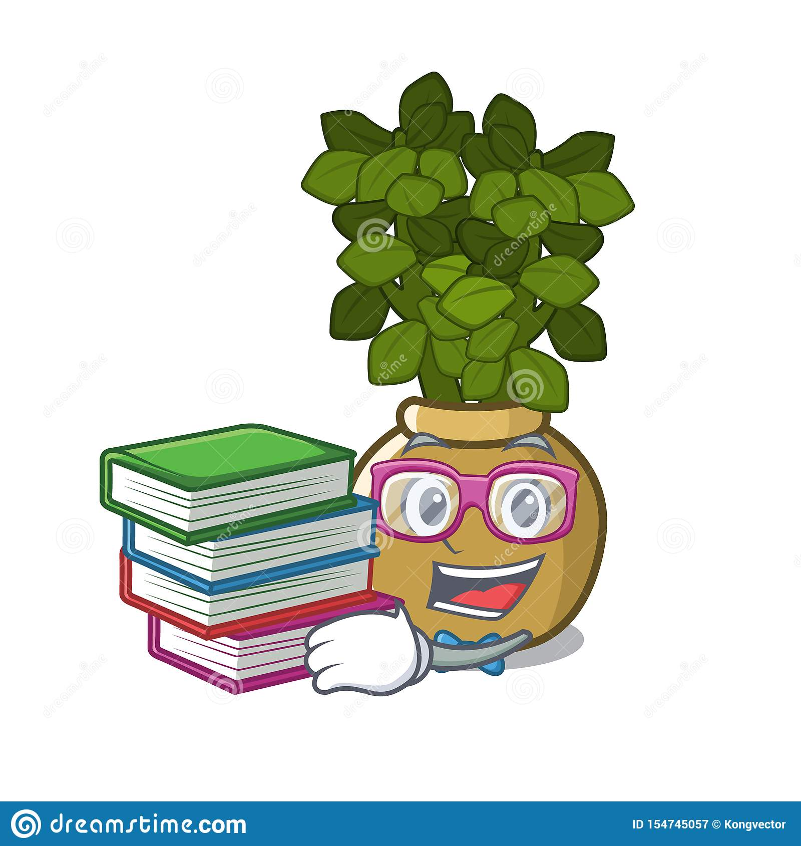 有书玉植物的学生在动画片词根增长