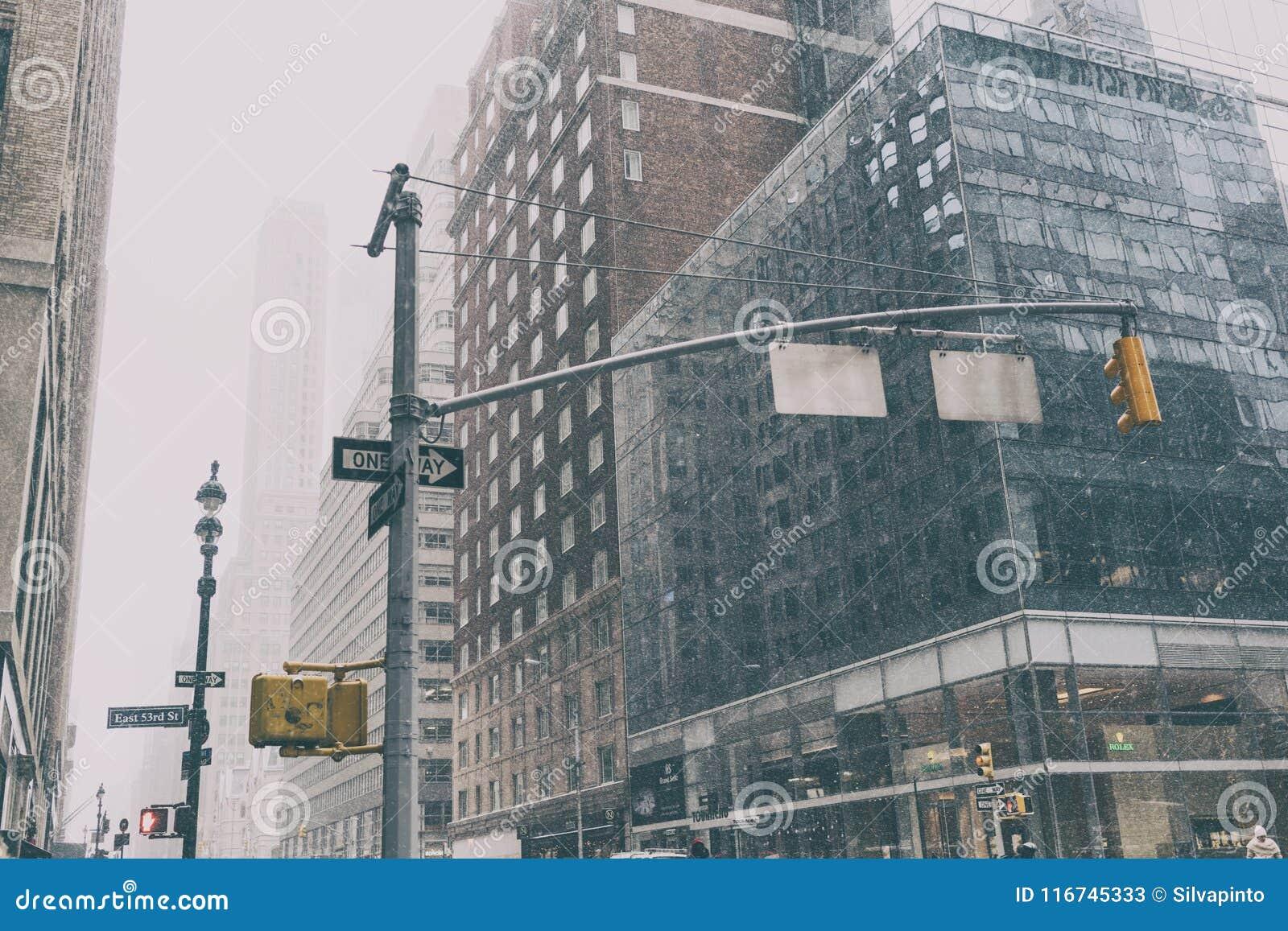 有交通标志和雪的31个DEZ 2017年-纽约/USA -纽约街道