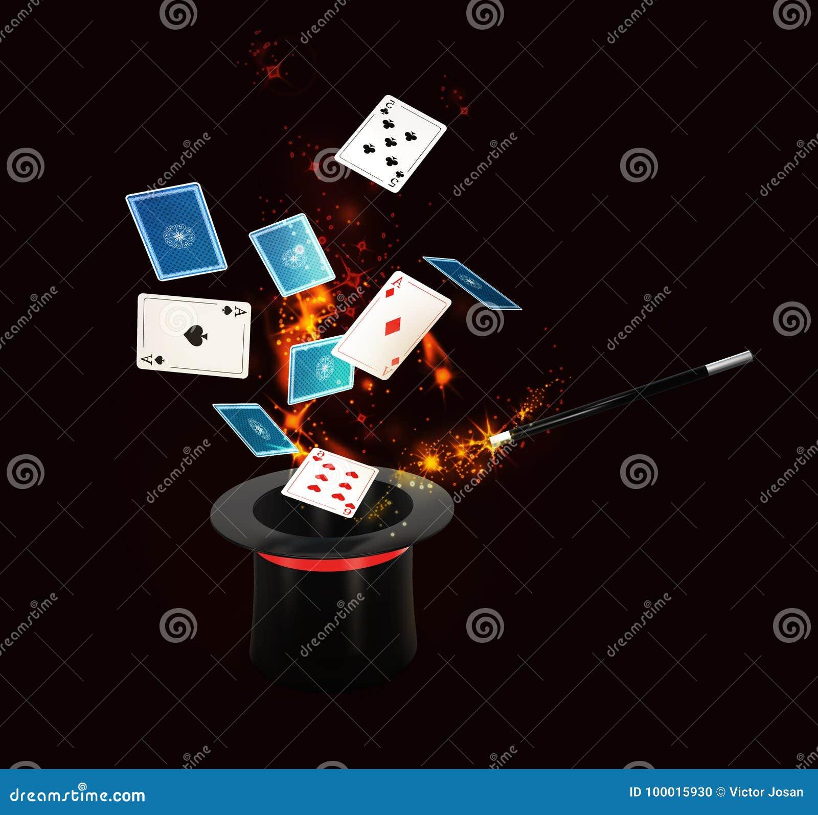 有亮光的背景不可思议的帽子和飞行打牌 被隔绝的黑色, 3d例证