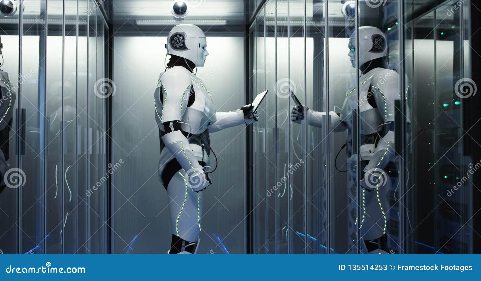 有人的特点的机器人在数据中心的检查服务器