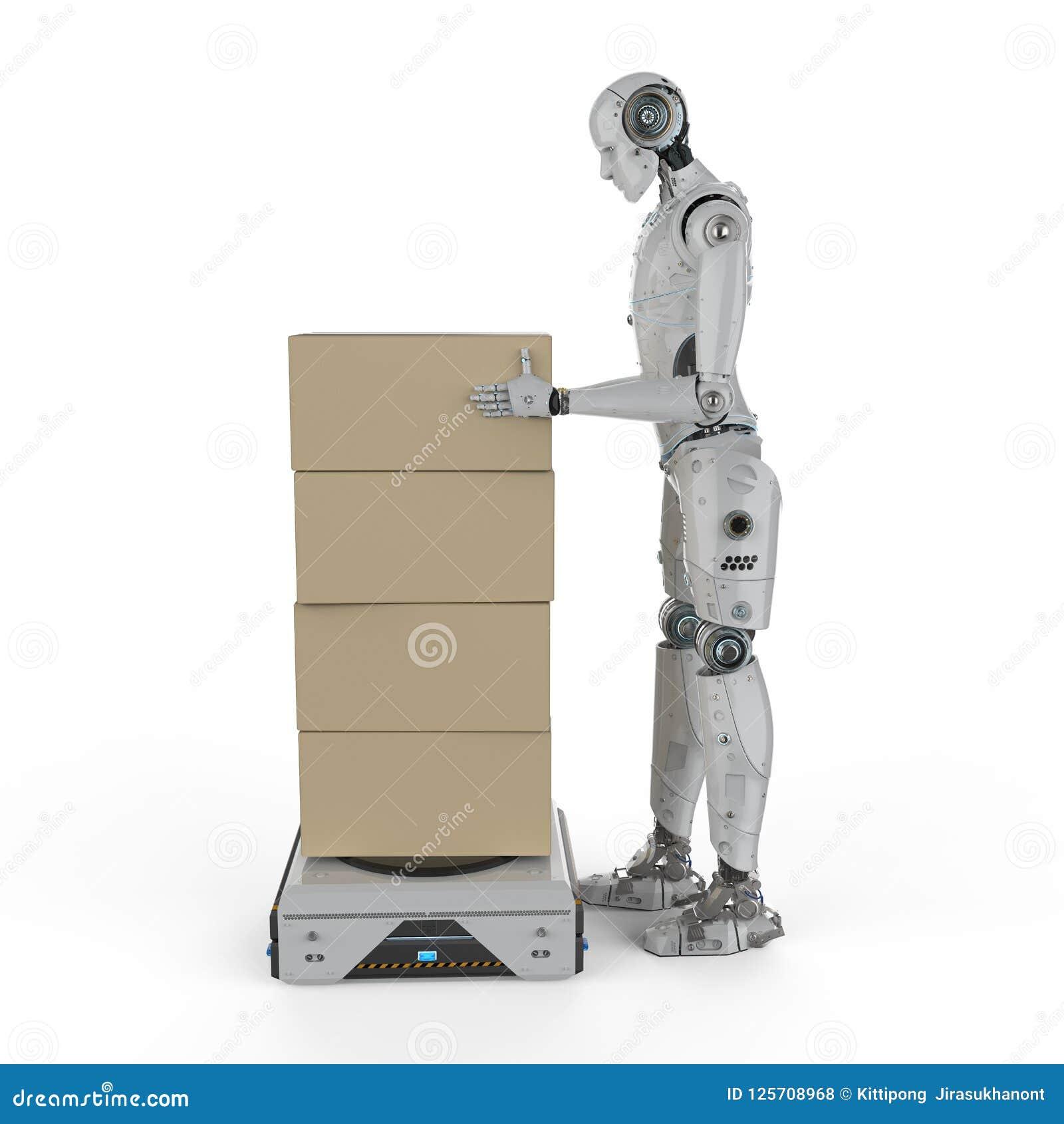 有仓库机器人的靠机械装置维持生命的人