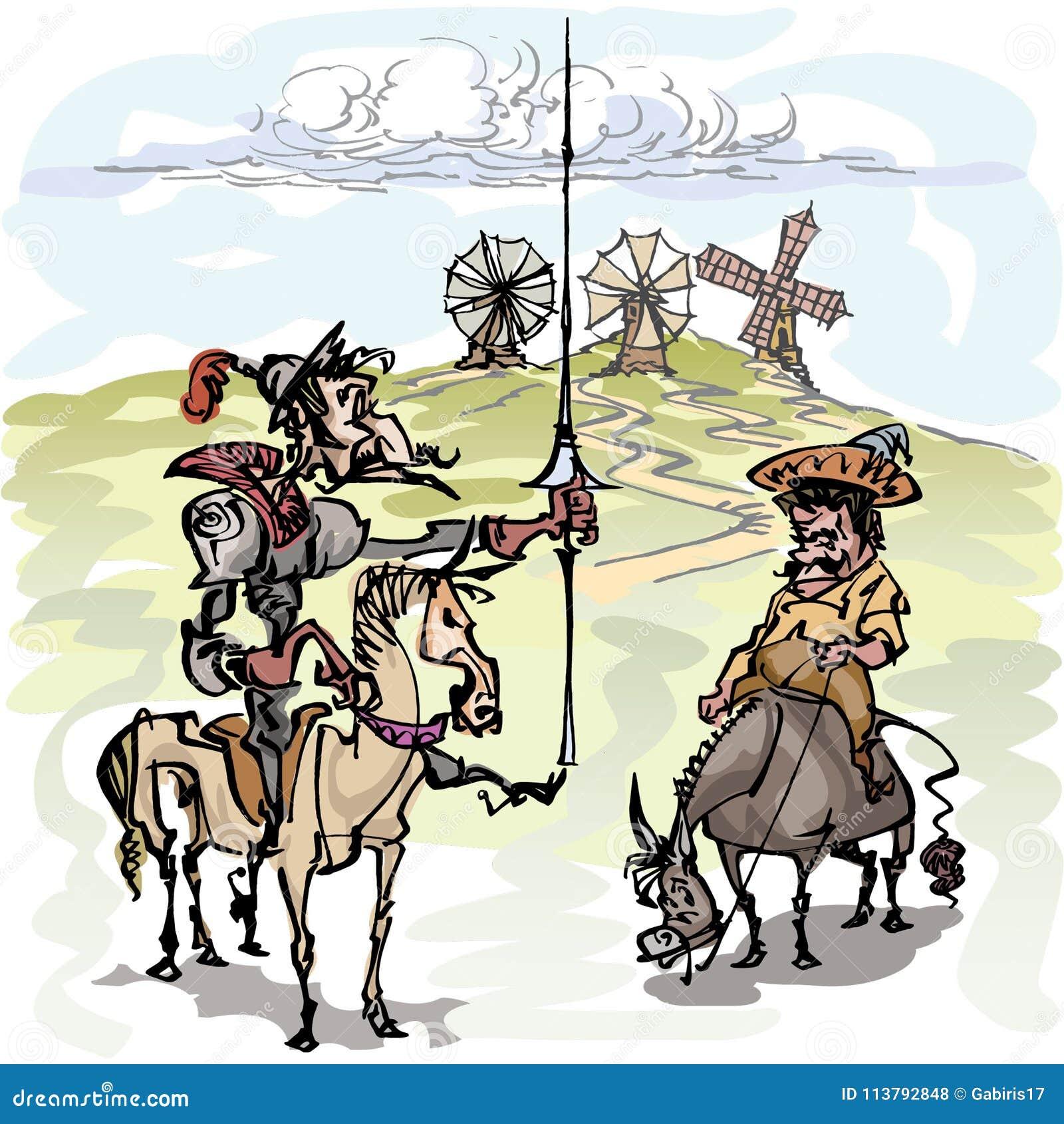 有他的仆人的唐吉诃德, Sancho Panza冥想风车