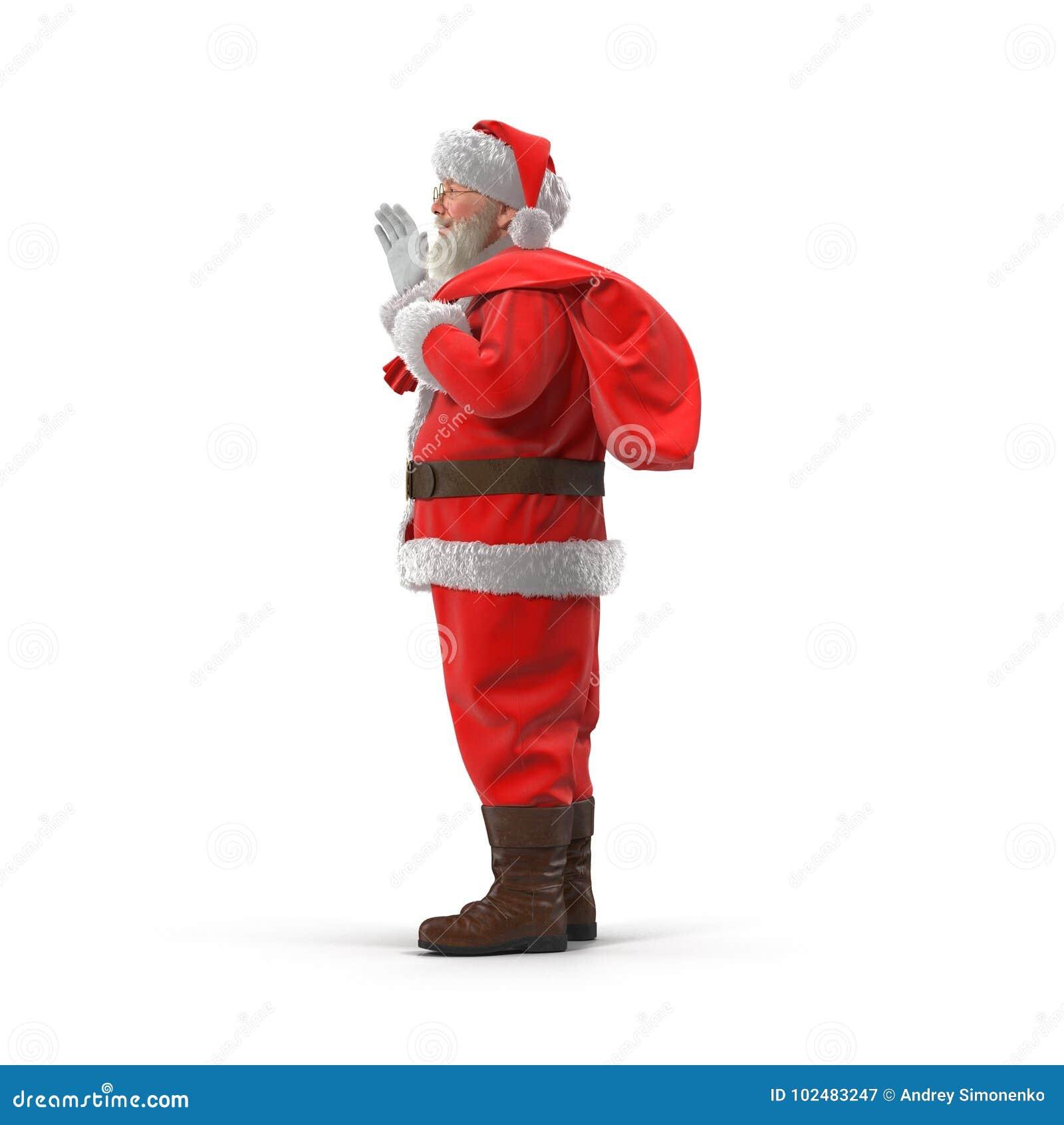 有他的圣诞老人充分大袋礼物 查出在白色 侧视图 3d例证