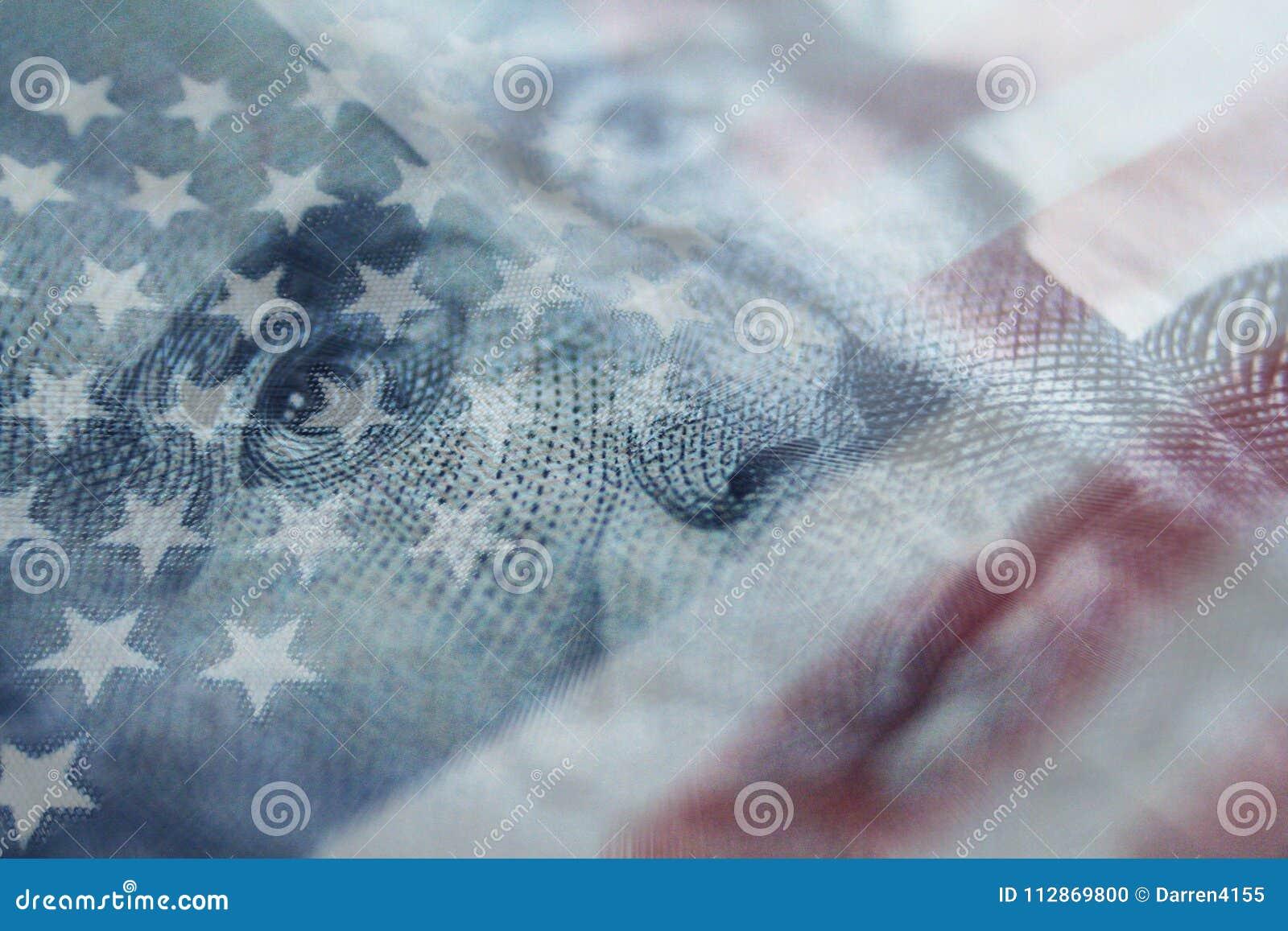 有优质美国的旗子的安德鲁・约翰逊