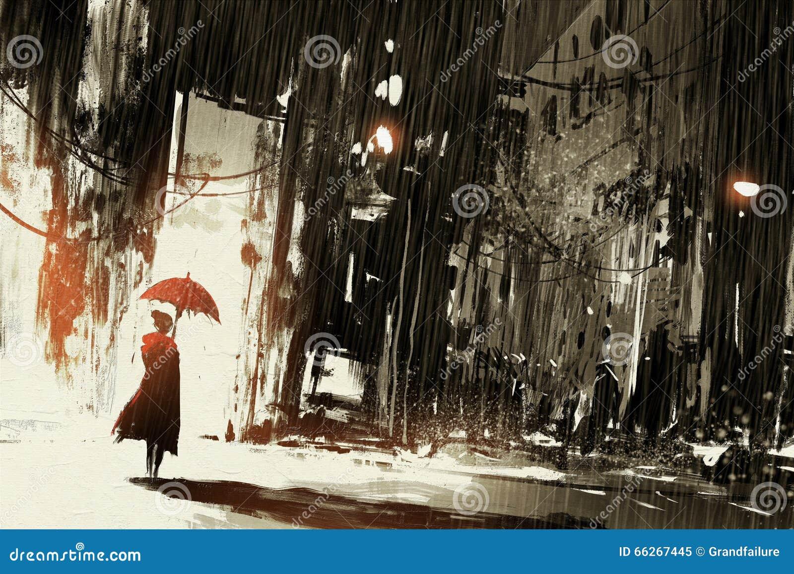有伞的孤独的妇女在被放弃的城市