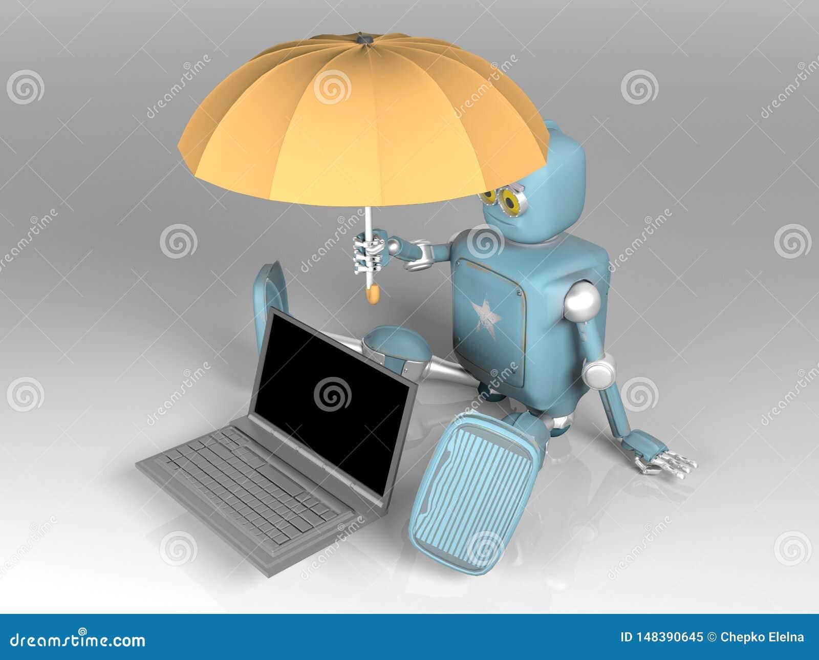 有伞的机器人保护膝上型计算机 3d??