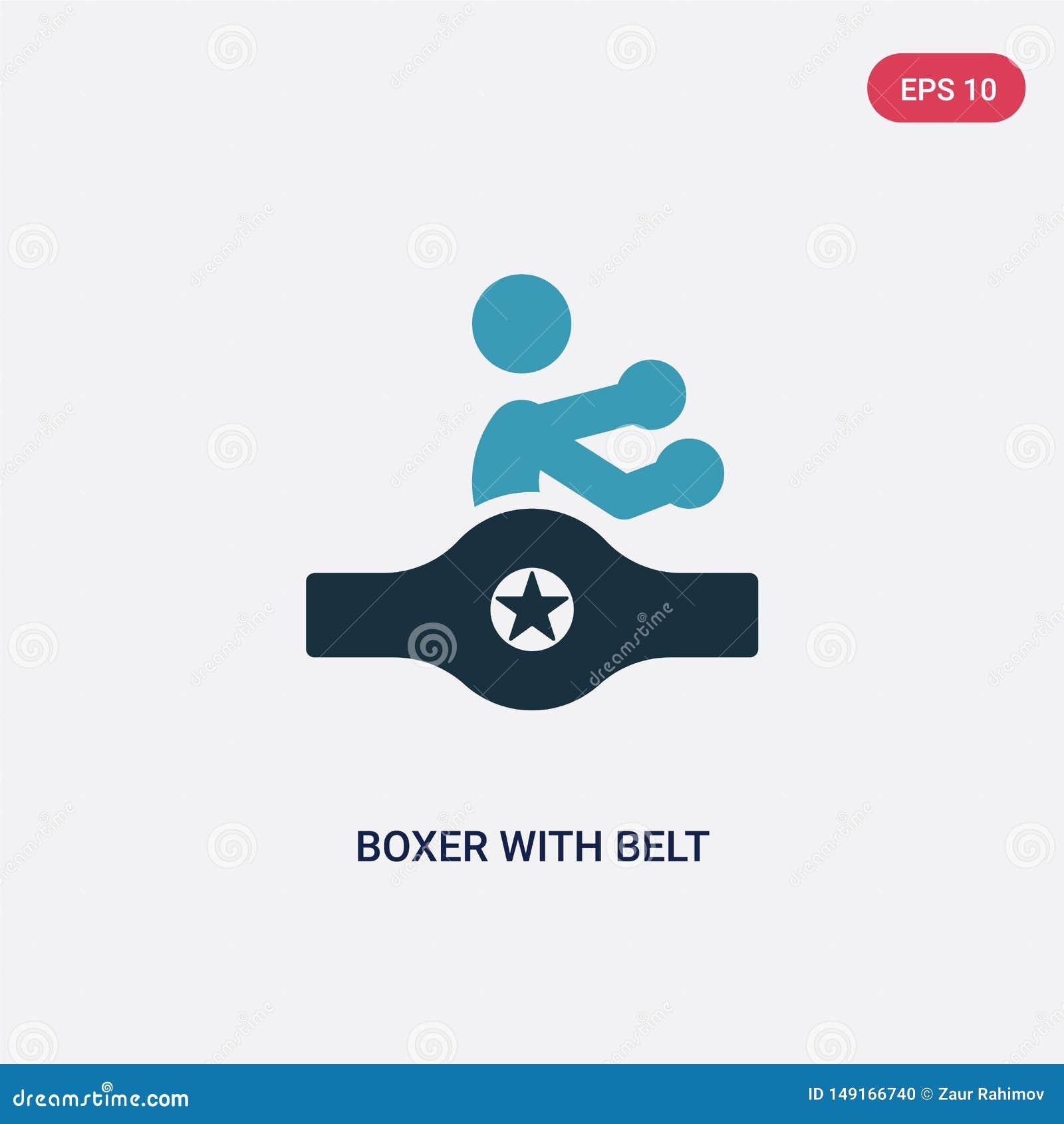 有传送带传染媒介象的两种颜色的拳击手从体育概念 有传送带传染媒介标志标志的被隔绝的蓝色拳击手可以是网的用途,